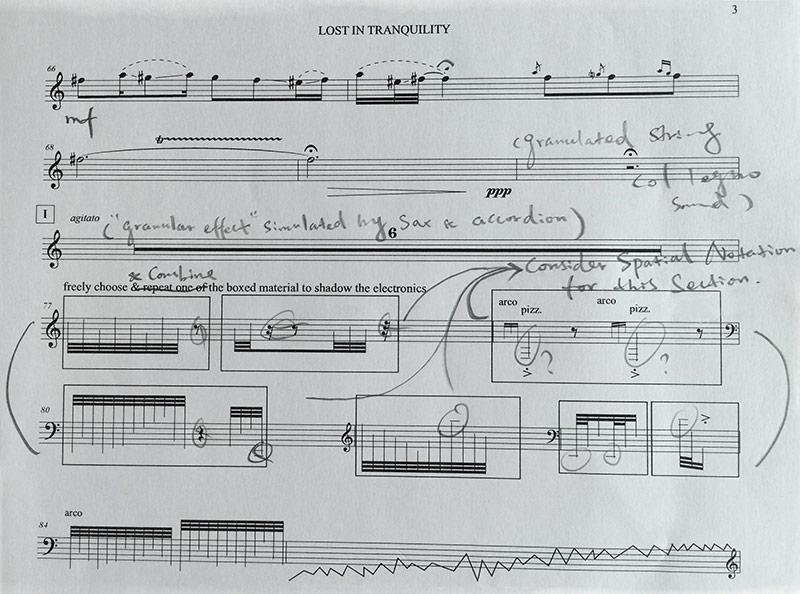 A work in progress – Jing Wang edits the score for