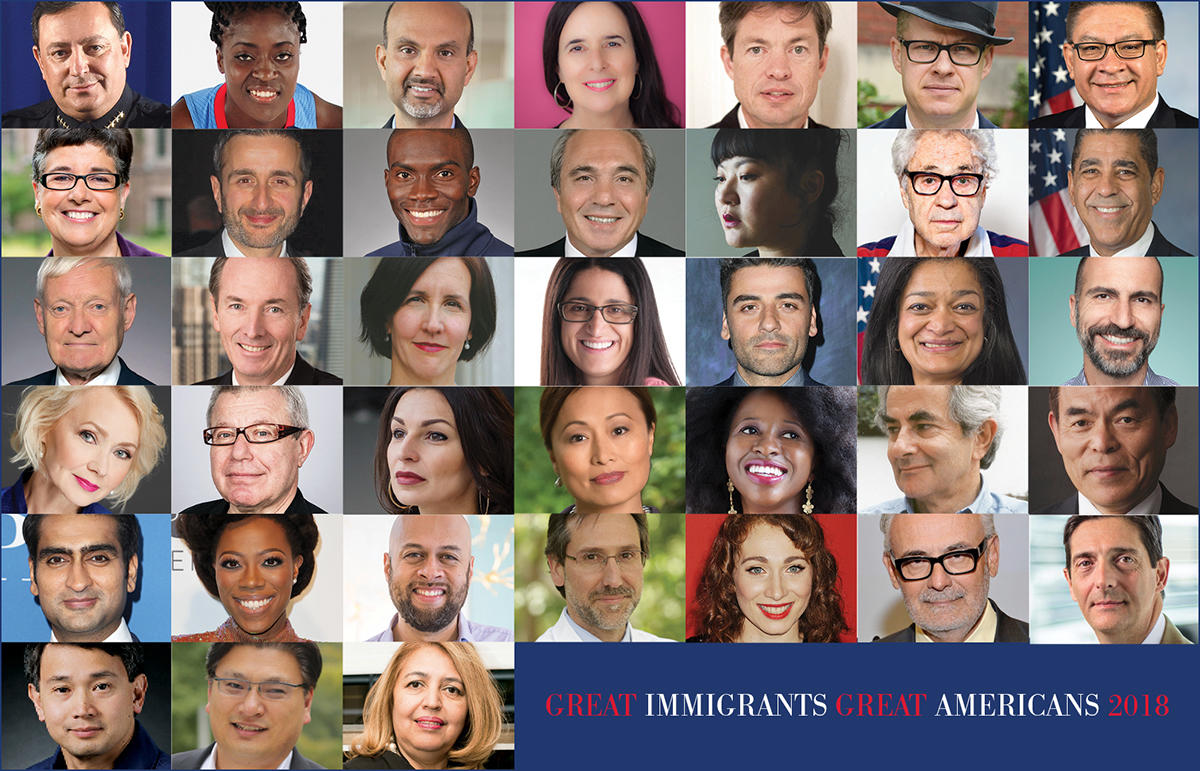 The 38 honorees of Carnegie Corporation's 2018 Great Immigrants campaign.