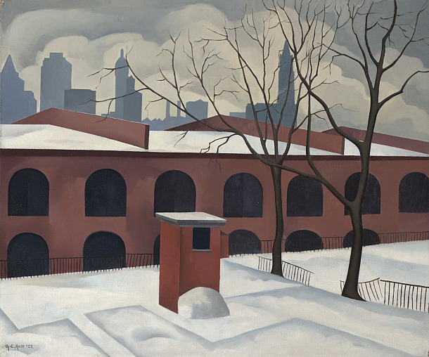 """View from Brooklyn,"" painted by George Ault, 1927, oil on canvas. © The Vilcek Foundation"