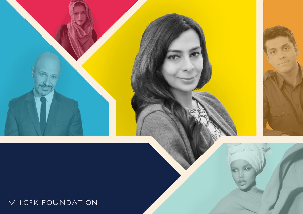 Photograph featuring Zareen Jaffery, Maz Jobrani, Wajahat Ali, and Halima Aden, and Amani Al Khatahtbeh