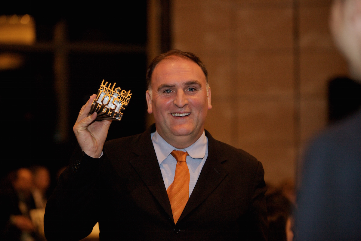 Jose Andres Holding the 2010 Vilcek Prize