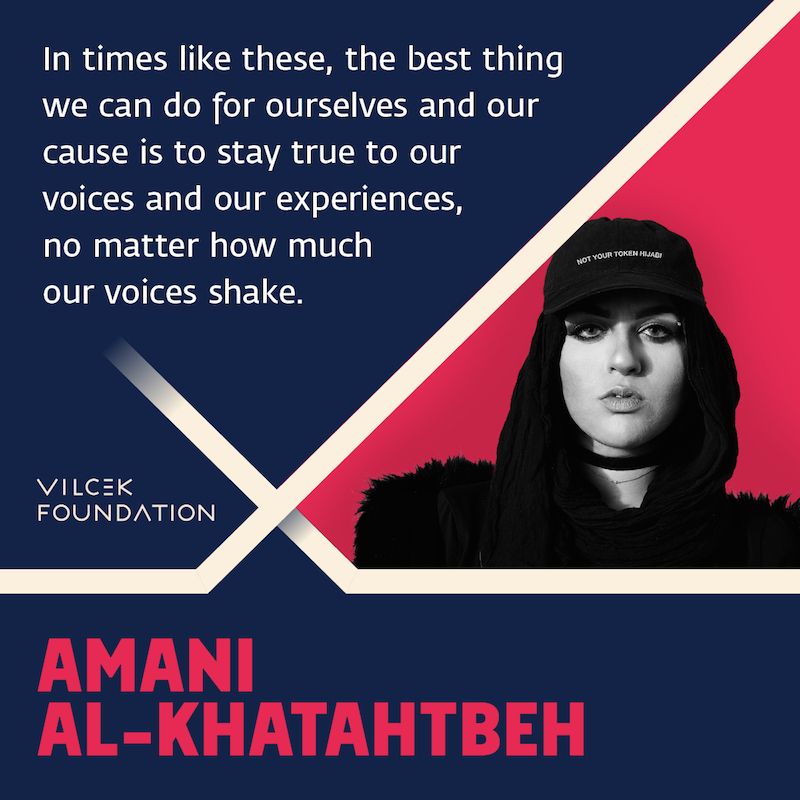 "Photograph of Amani Al Khatahtbeh, with quote: ""In times like these, the best thing we can do for ourselves and our cause is to stay true to voices and our experiences, no matter how much our voices shake."