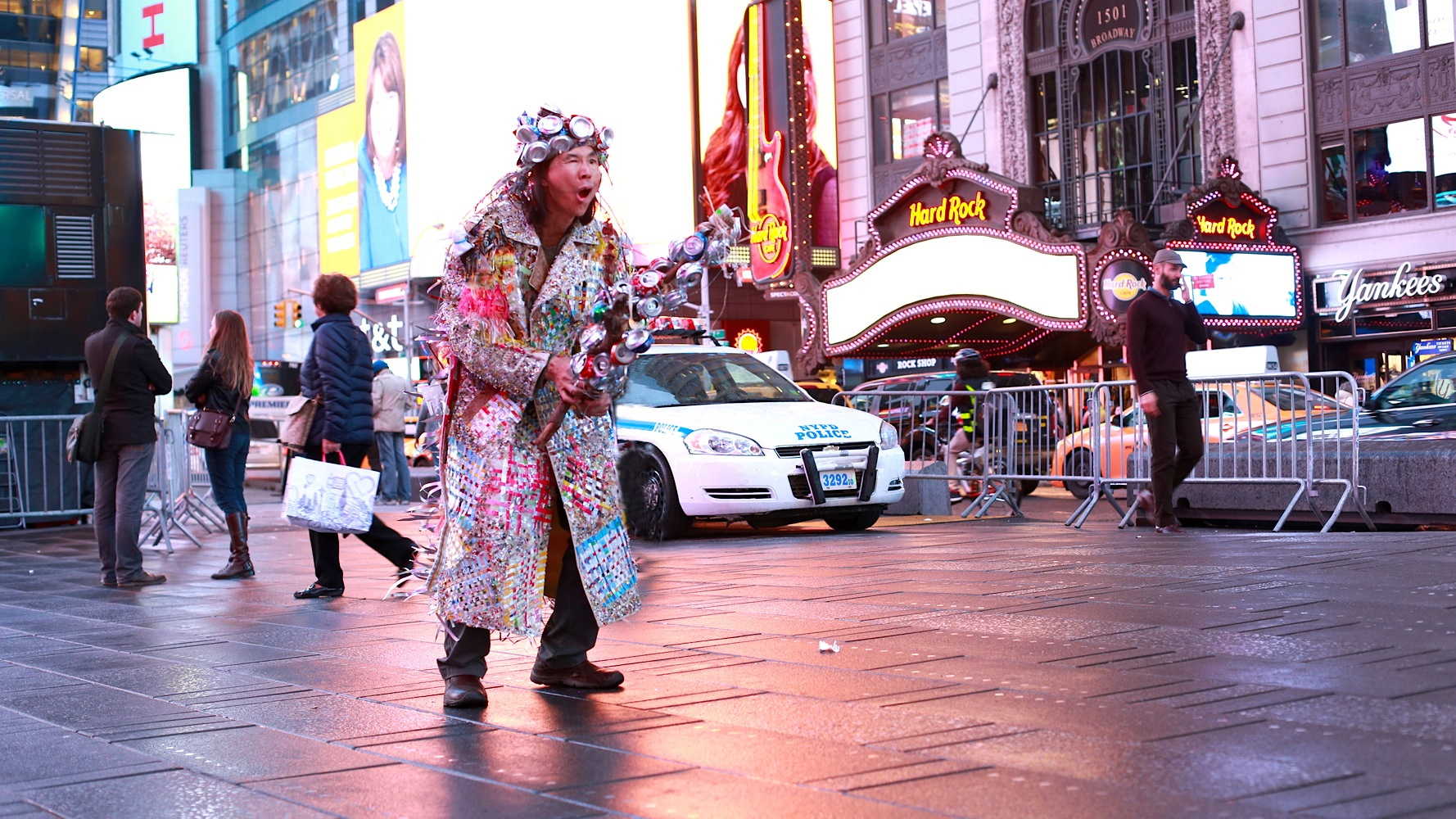 Multidisciplinary artist Chin Chih Yang performs in New York City's Time Square.
