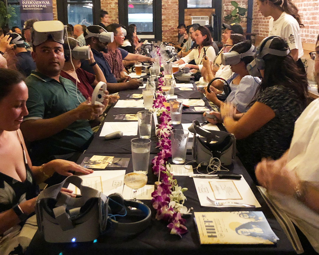 Attendees participating in Jenny Dorsey's presentation of Asian in America, at The Pig and the Lady in Honolulu.