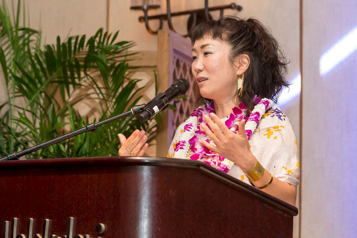 HIKARI accepting the Kau Ka Hōkū Award at the Hawai'i International Film Festival Gala