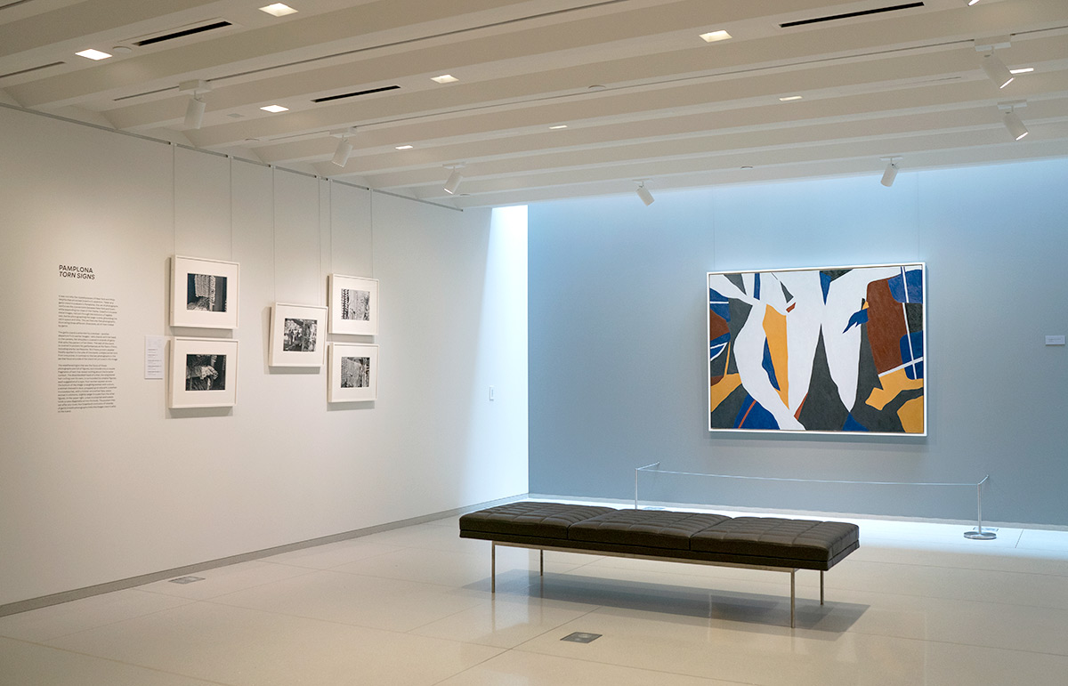 Installation view of Ralston Crawford: Torn Signs