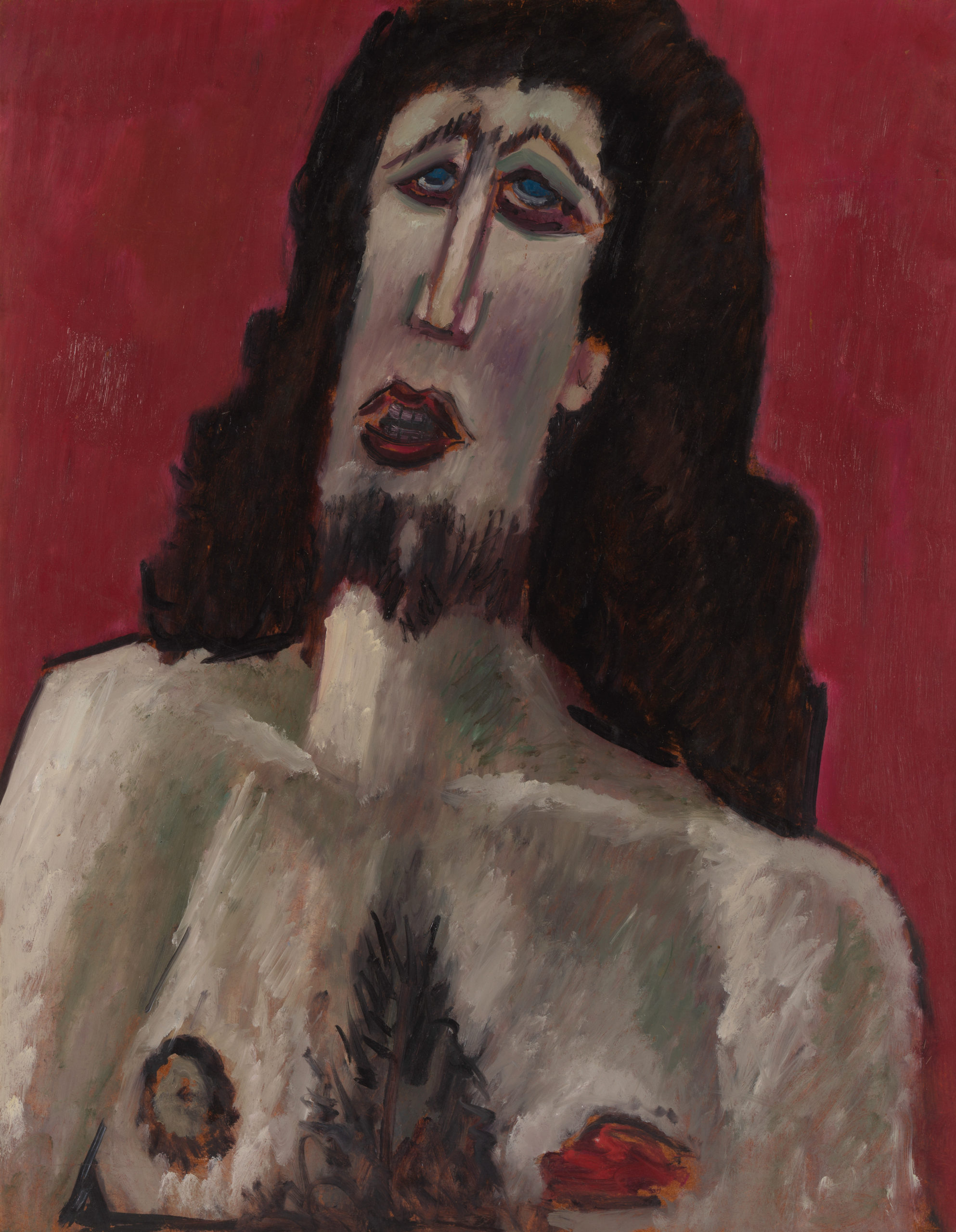 A bust portrait of Christ with short, rough brush strokes, on a red background.