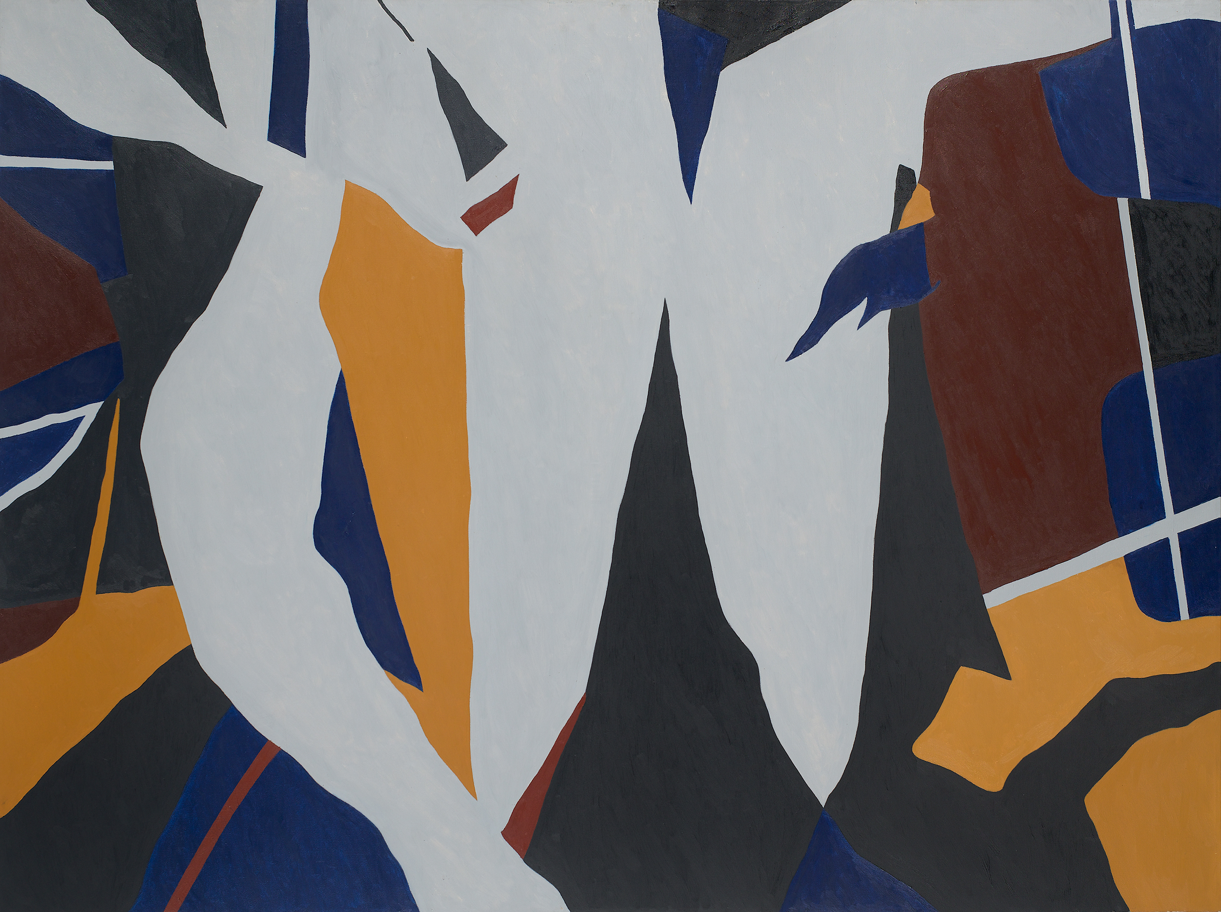 Abstract painting of torn signs and hooded penitents with uneven tears of black, blue, brown, yellow and white.