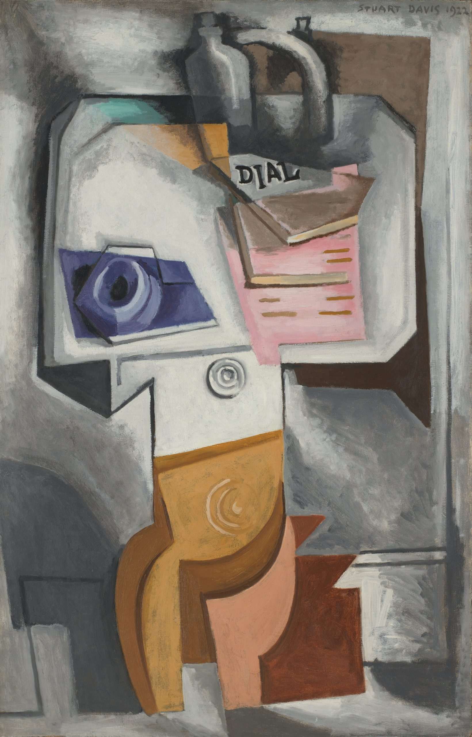 A cubist still life featuring a cup and saucer, stack of magazines, and jug on an upturned table top.