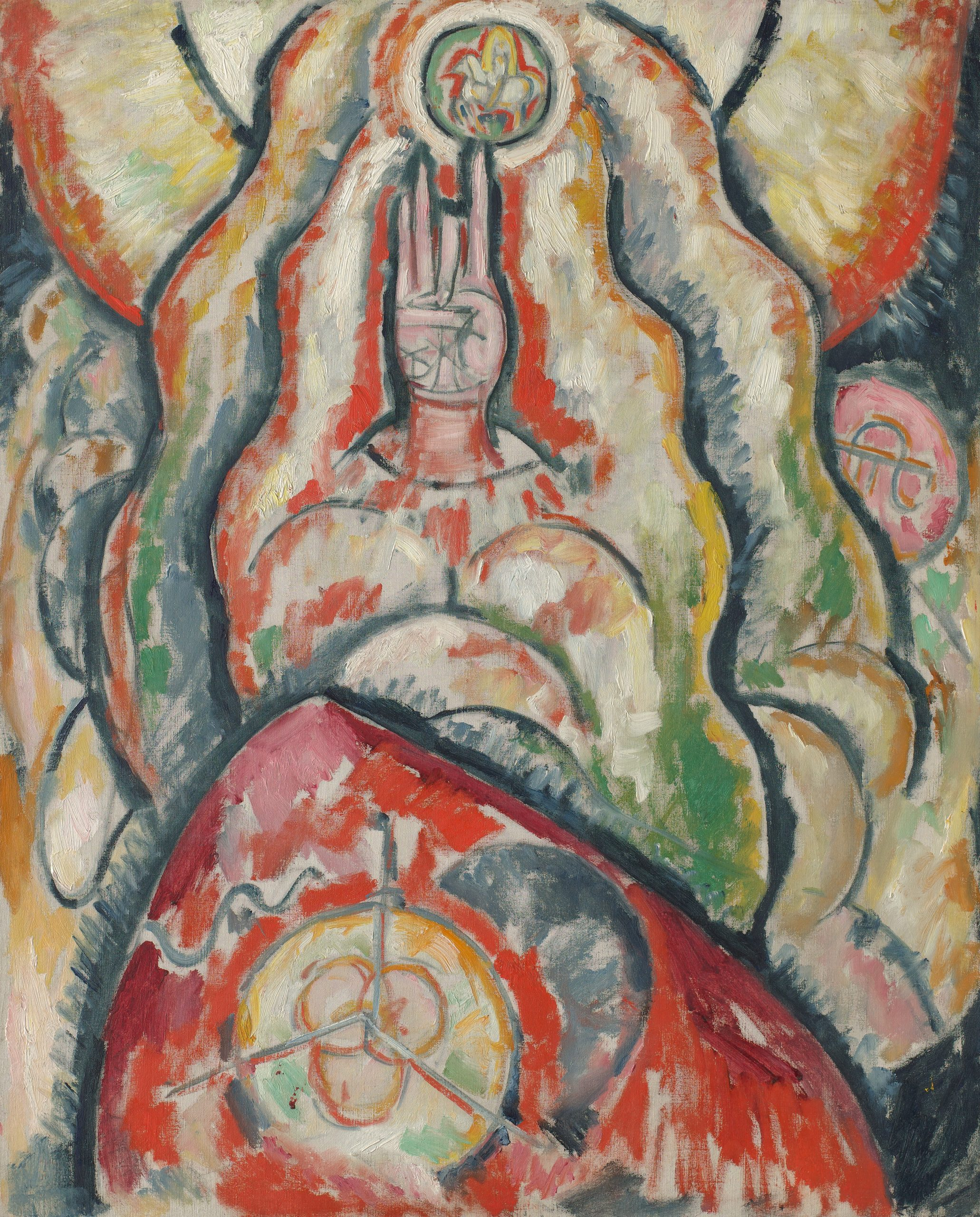 A painting of radiating mandorla shapes in red, orange and green, with a hand in the center, the thumb folded while the middle finger points at a soldier on horseback.