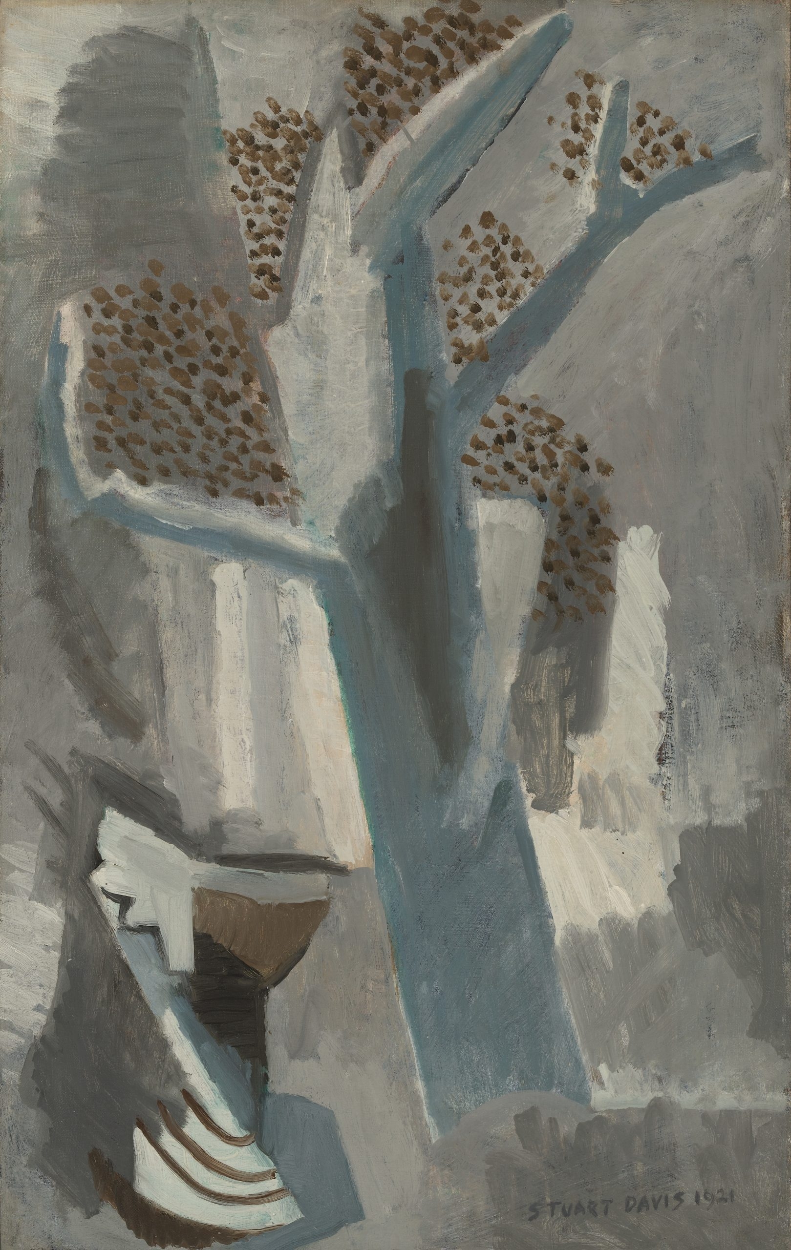 A small urn set next to a large tree in a cubist landscape, areas of brown dots suggest leaves.