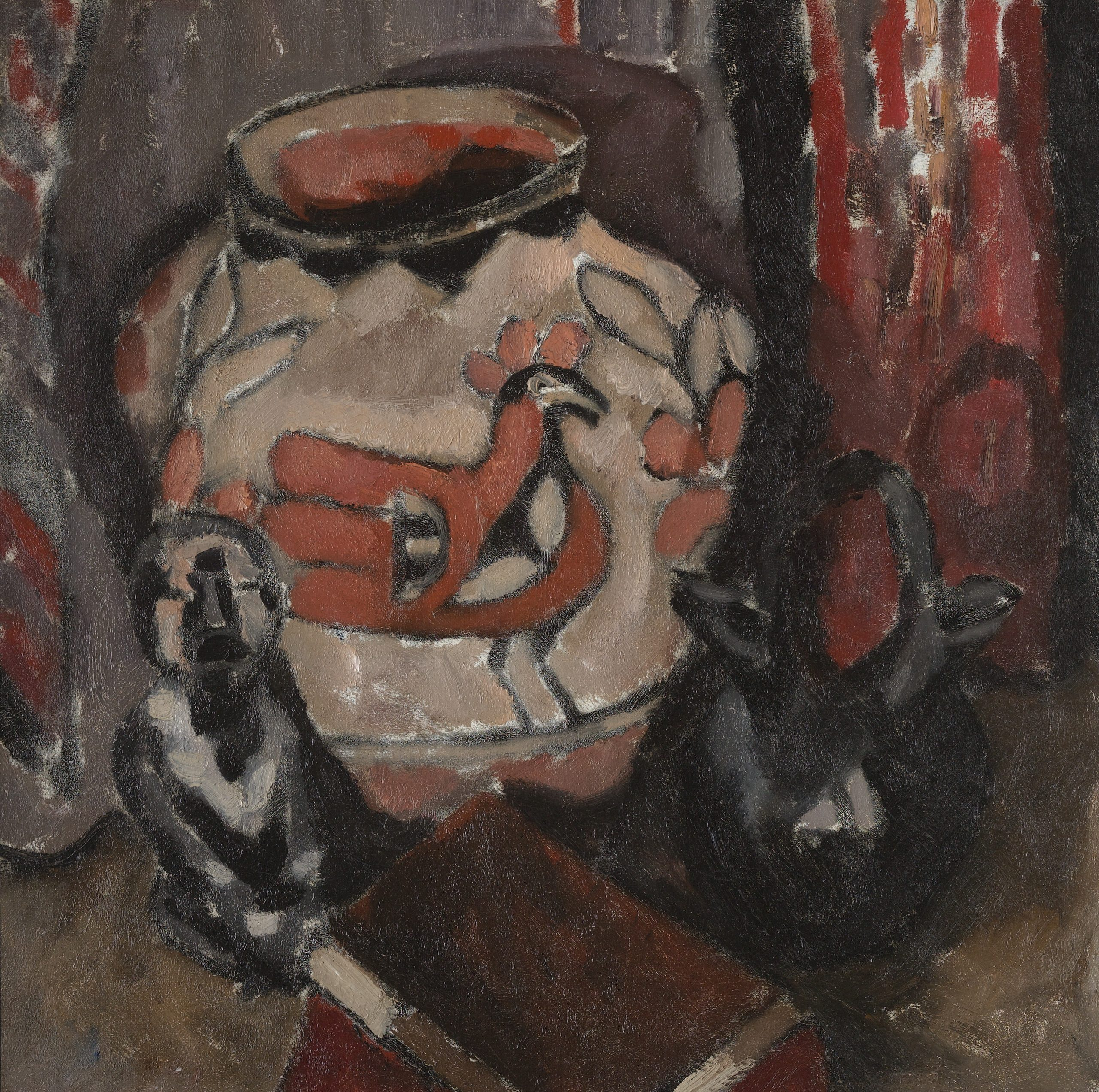 A still life painting featuring an Acoma pot decorated with a bird and leaf designs, a Santa Clara double-spouted jug, a small figure sculpture and a book on a table in front of a red tapestry.