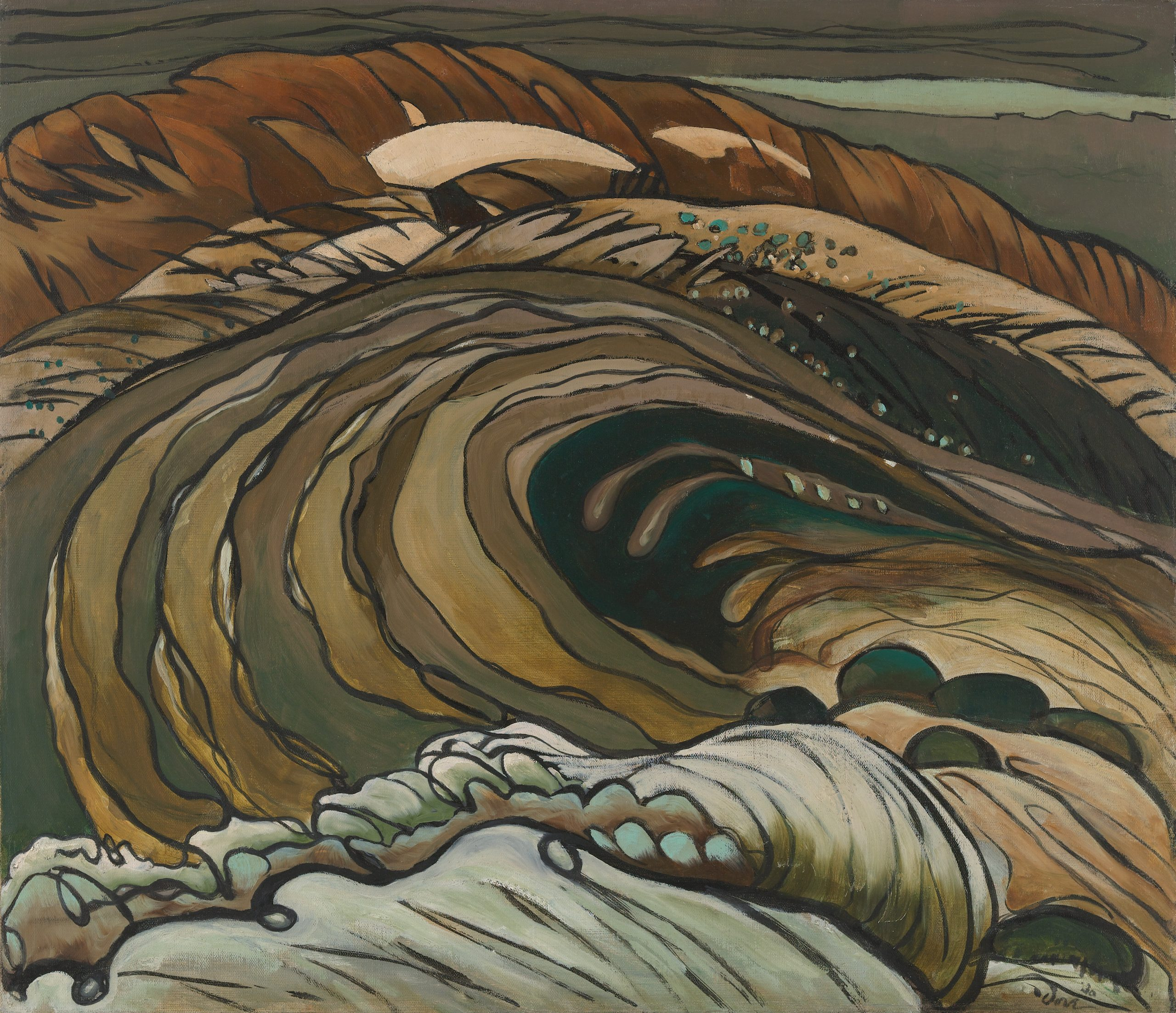 Tall brown and green waves accented by thick black lines, cresting into one another.