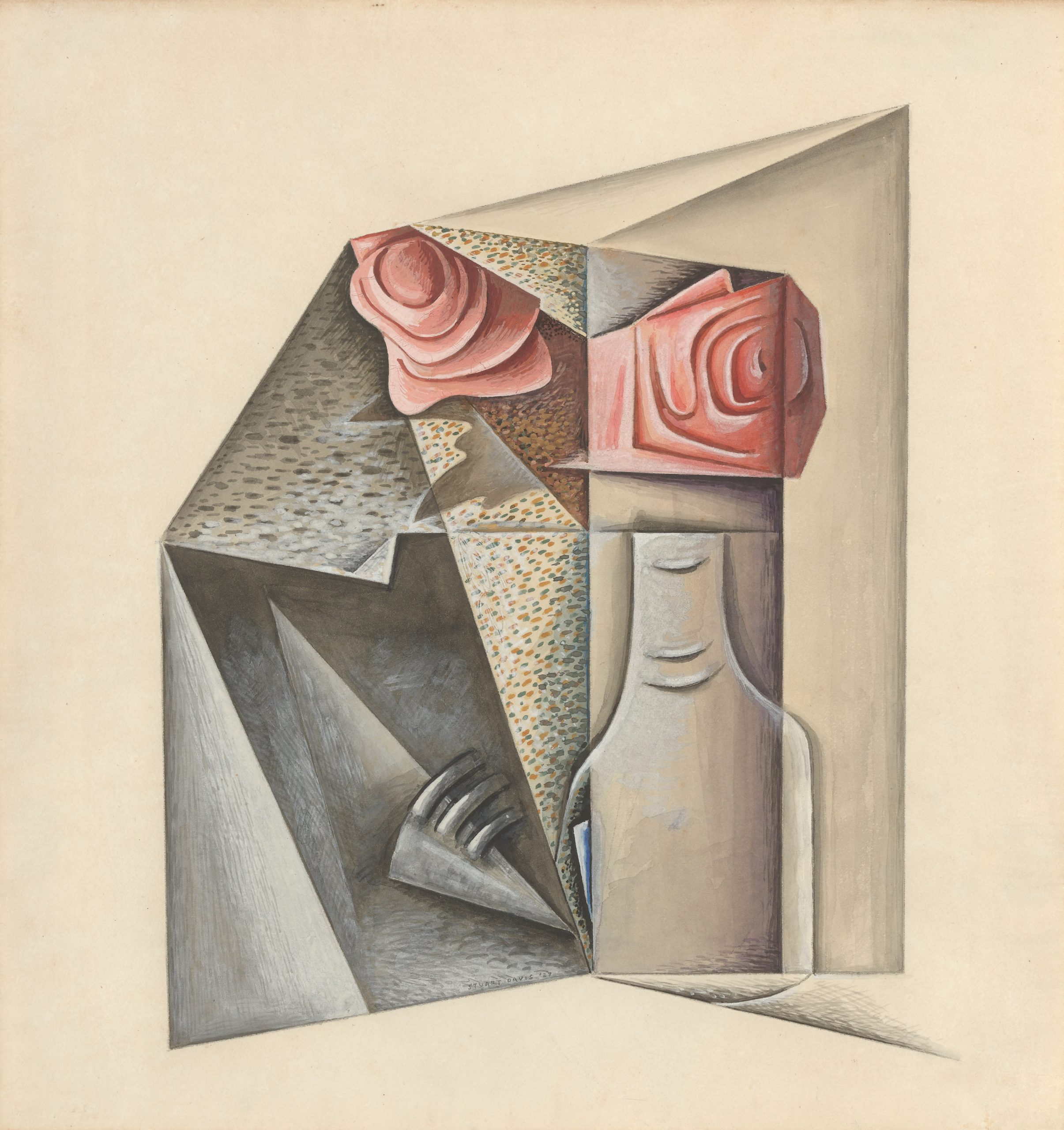 A cubist still life of two pink roses in a glass vase.