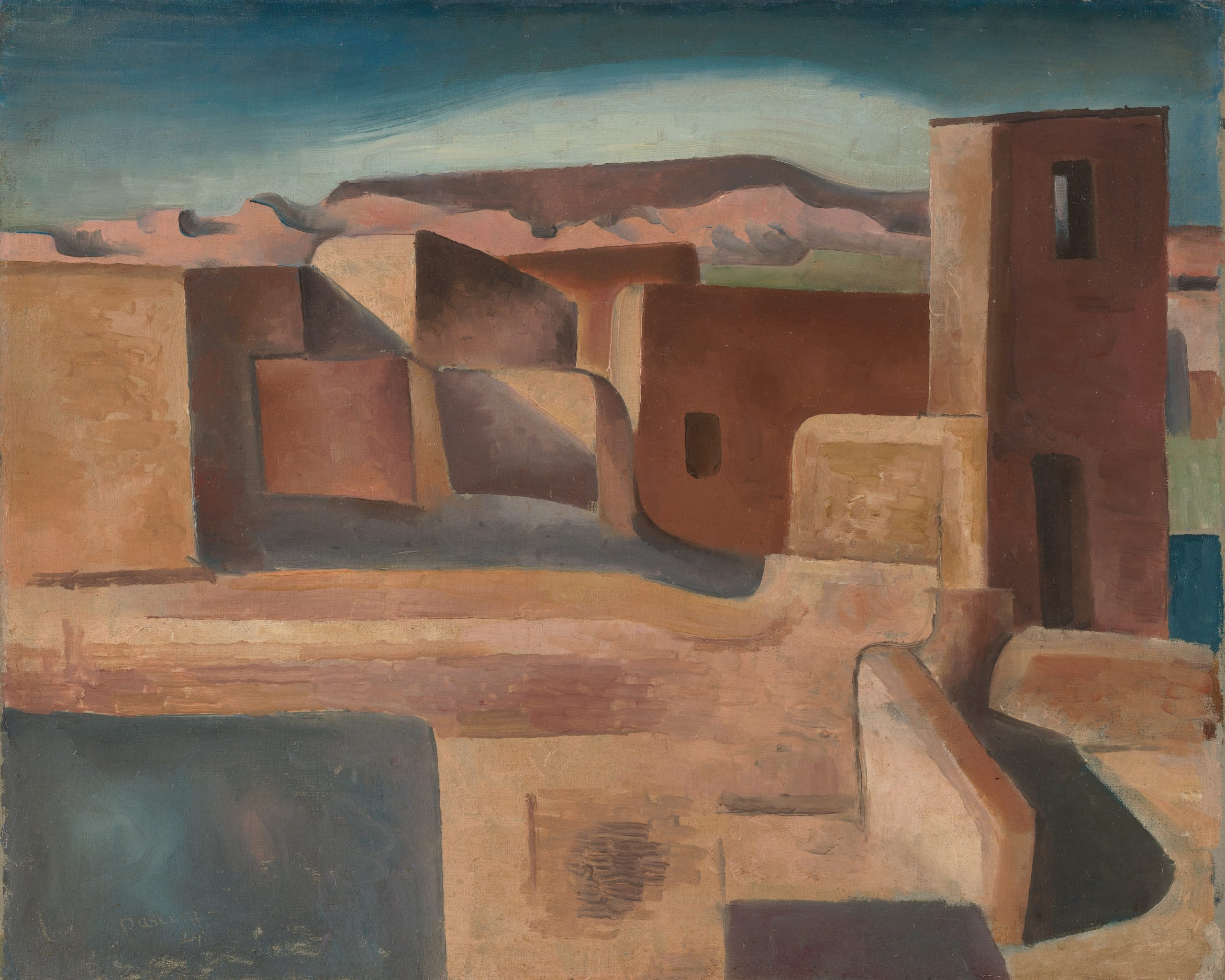 Painting of adobe buildings including a church set against a plateau on the horizon.
