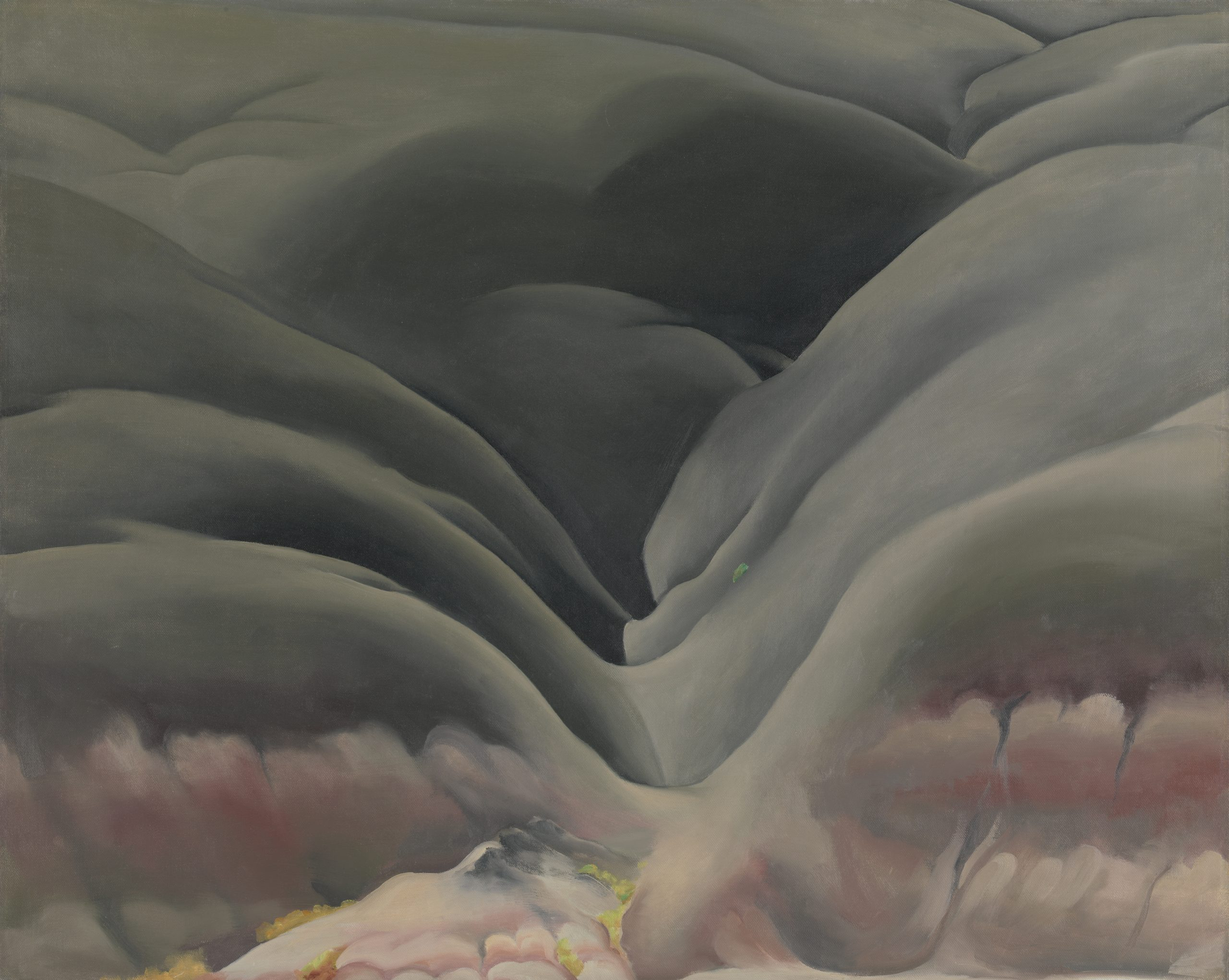 Painting of a mountain ridge in navy and pink surrounded by a landscape of warm pinks, reds, and green.