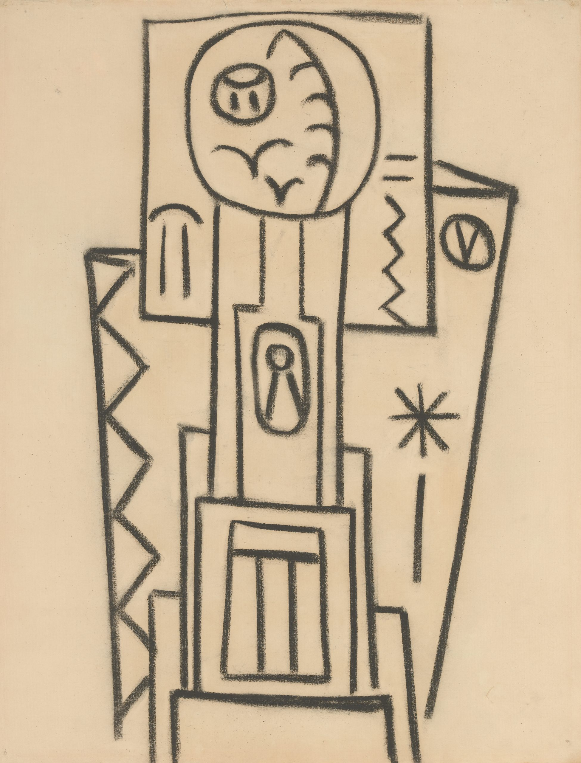 A charcoal drawing featuring appropriated Native American symbols and imagery associated.