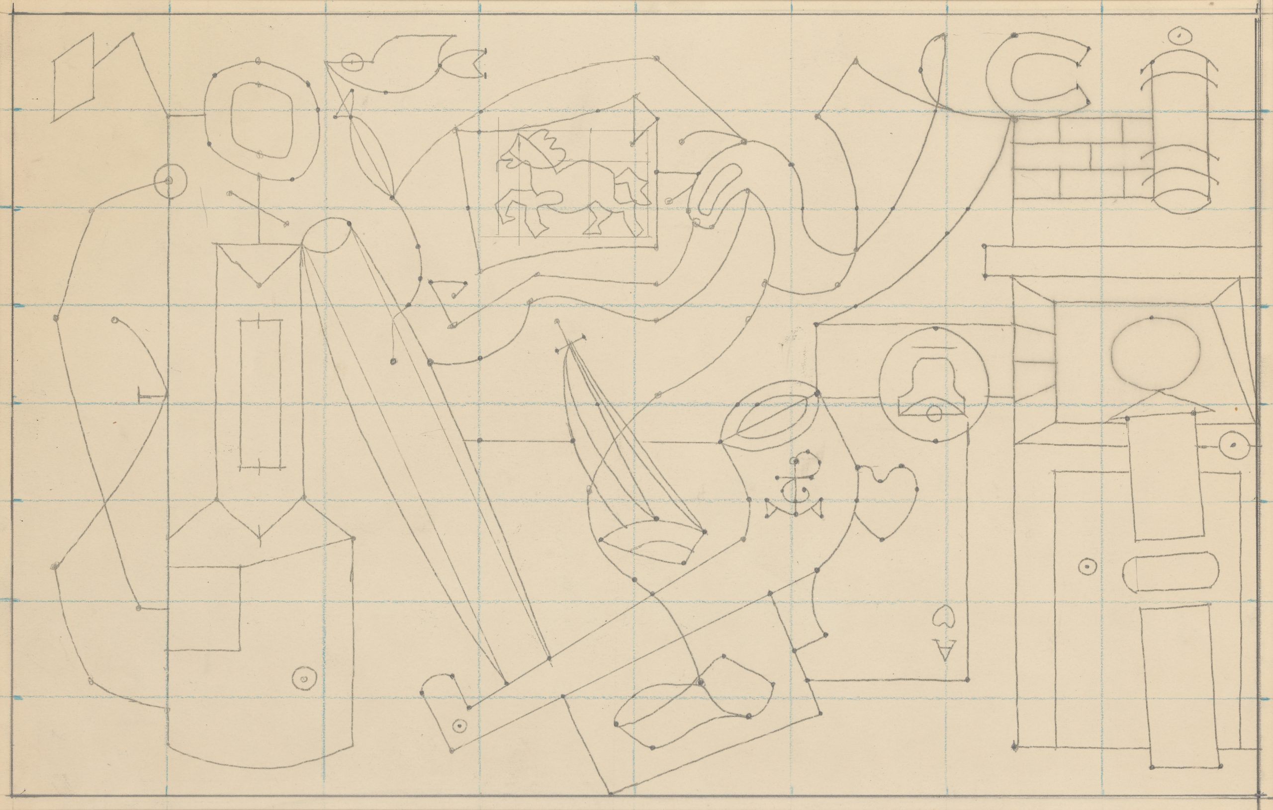 A drawing on graph paper featuring imagery including a gas pump, pipe, sailboat, barber shop pole, and playing card.