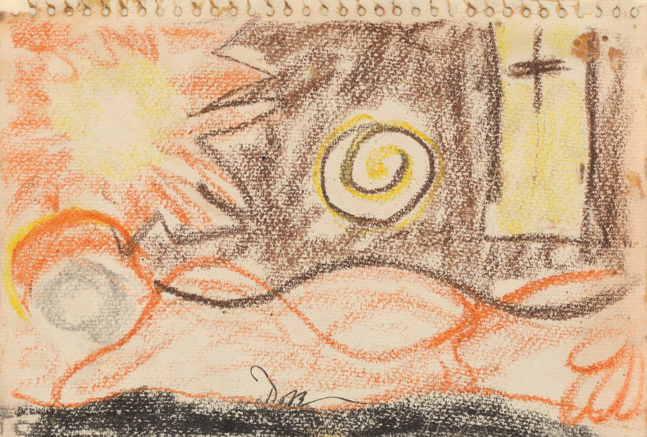 Orange, yellow, and brown crayon drawing of a sun rising over a landscape.