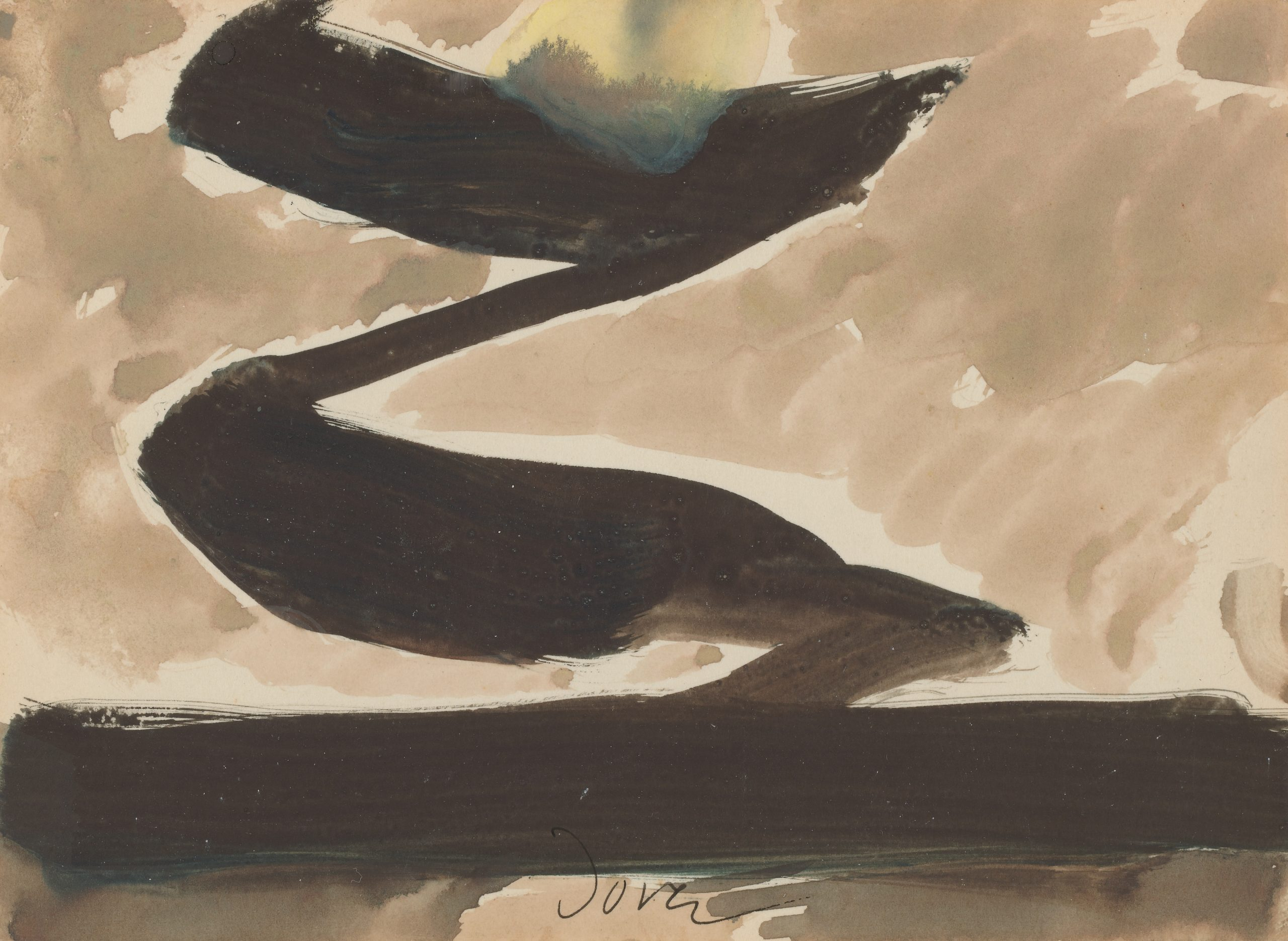 A beige sky with a yellow sun, and a black Z-shape centered between the sun and a black horizontal line at the bottom of the paper.