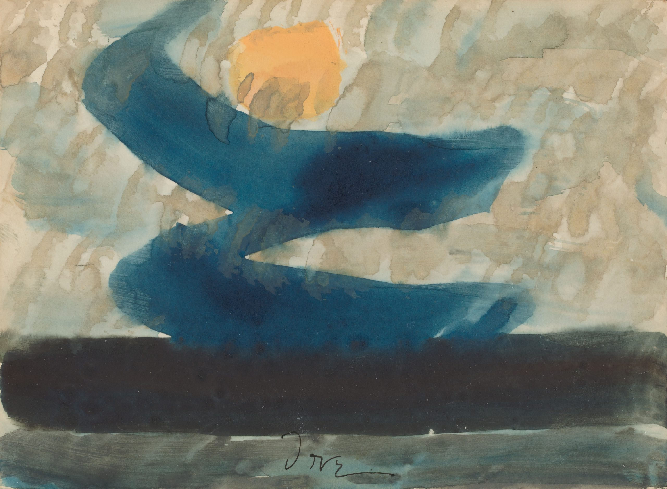 A beige sky indicated by rain-like brush strokes with a yellow sun, and a blue Z-shape between the sun and a black horizontal line at the bottom of the paper.