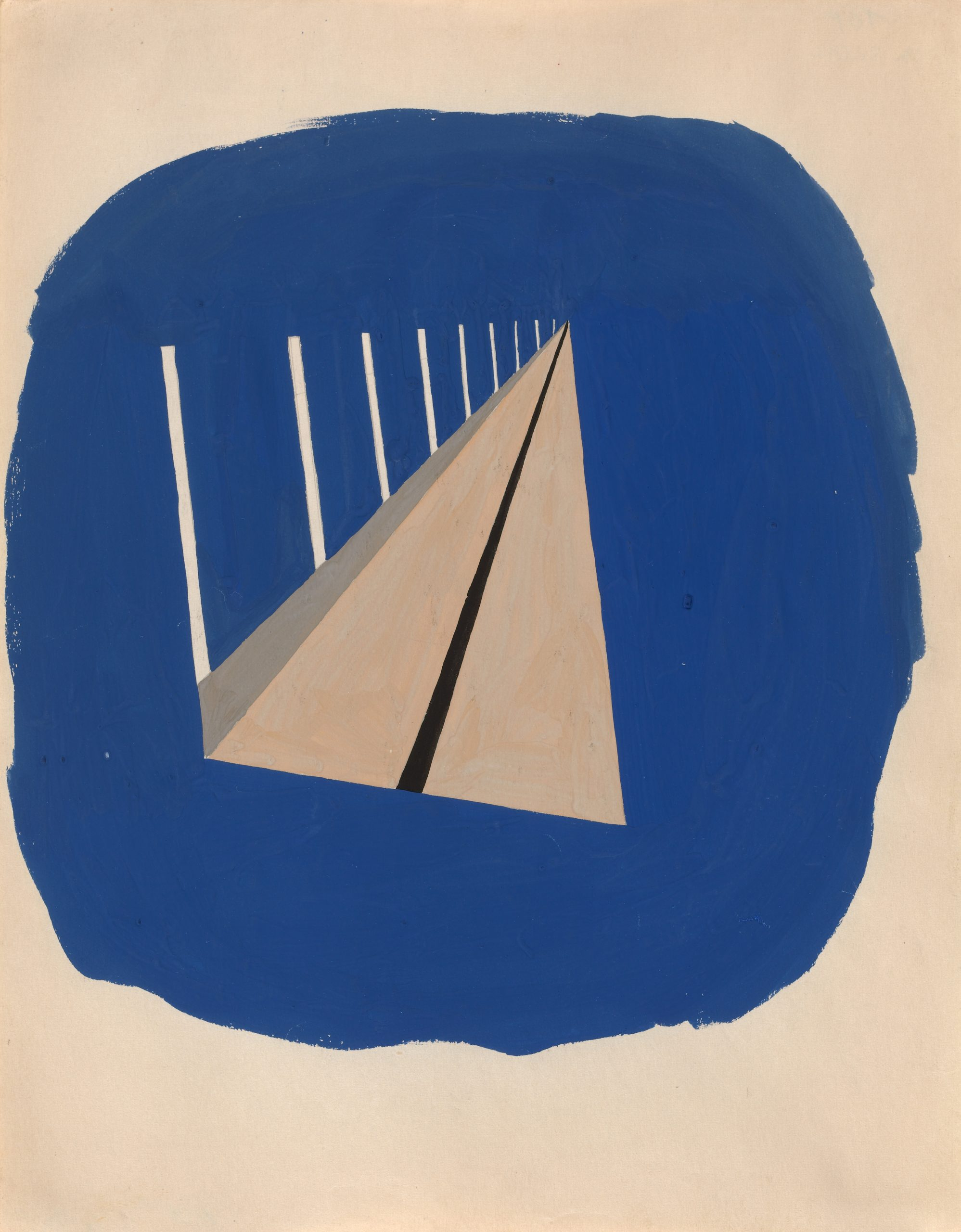 A beige triangle with verticle white lines, illustrating a bridge rushing off into the distance, is centered inside a roughly painted blue circle.