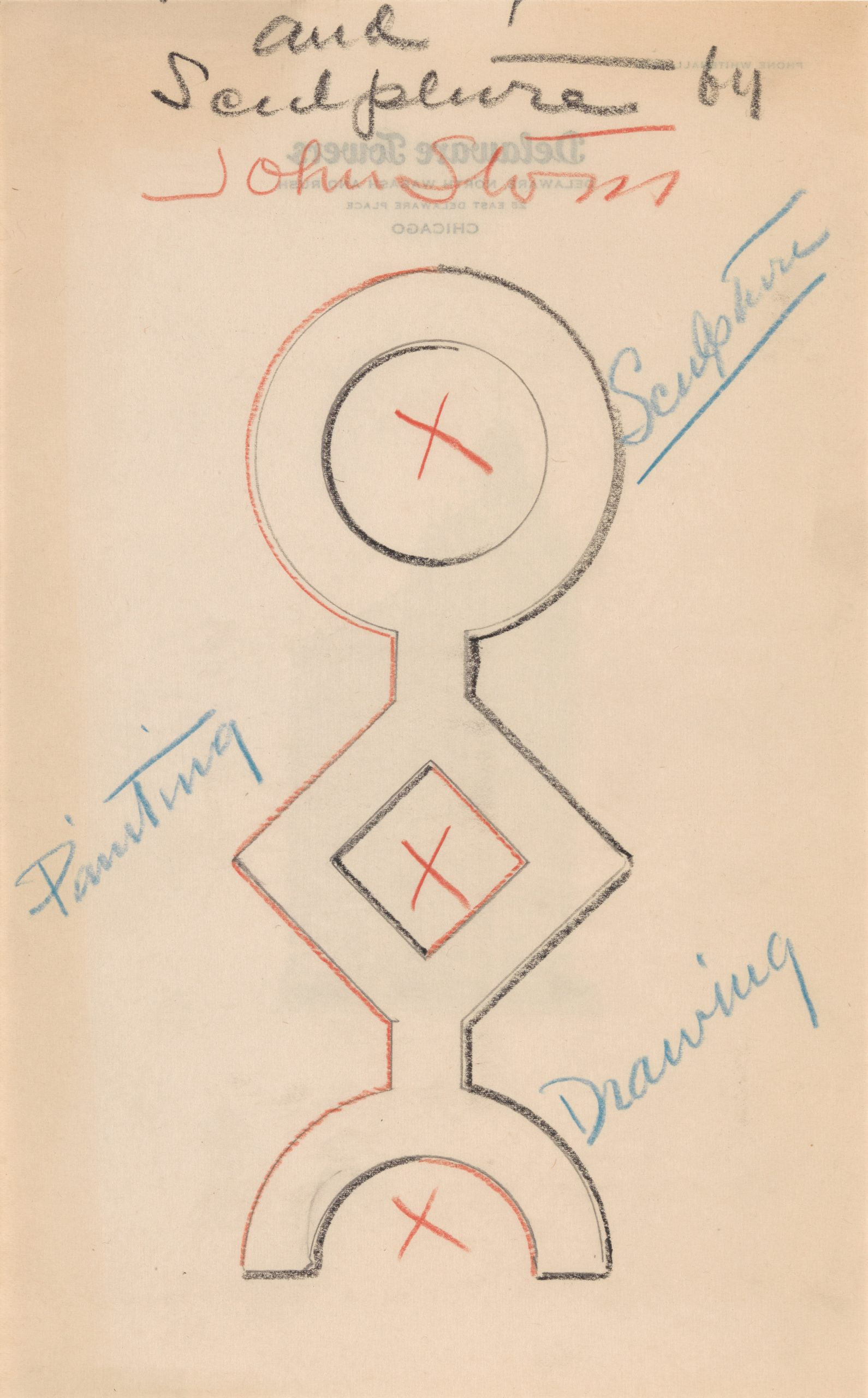 A pencil drawing of a totem-like figure of a circle representing sculpture, a diamond representing painting and a half circle representing drawing.