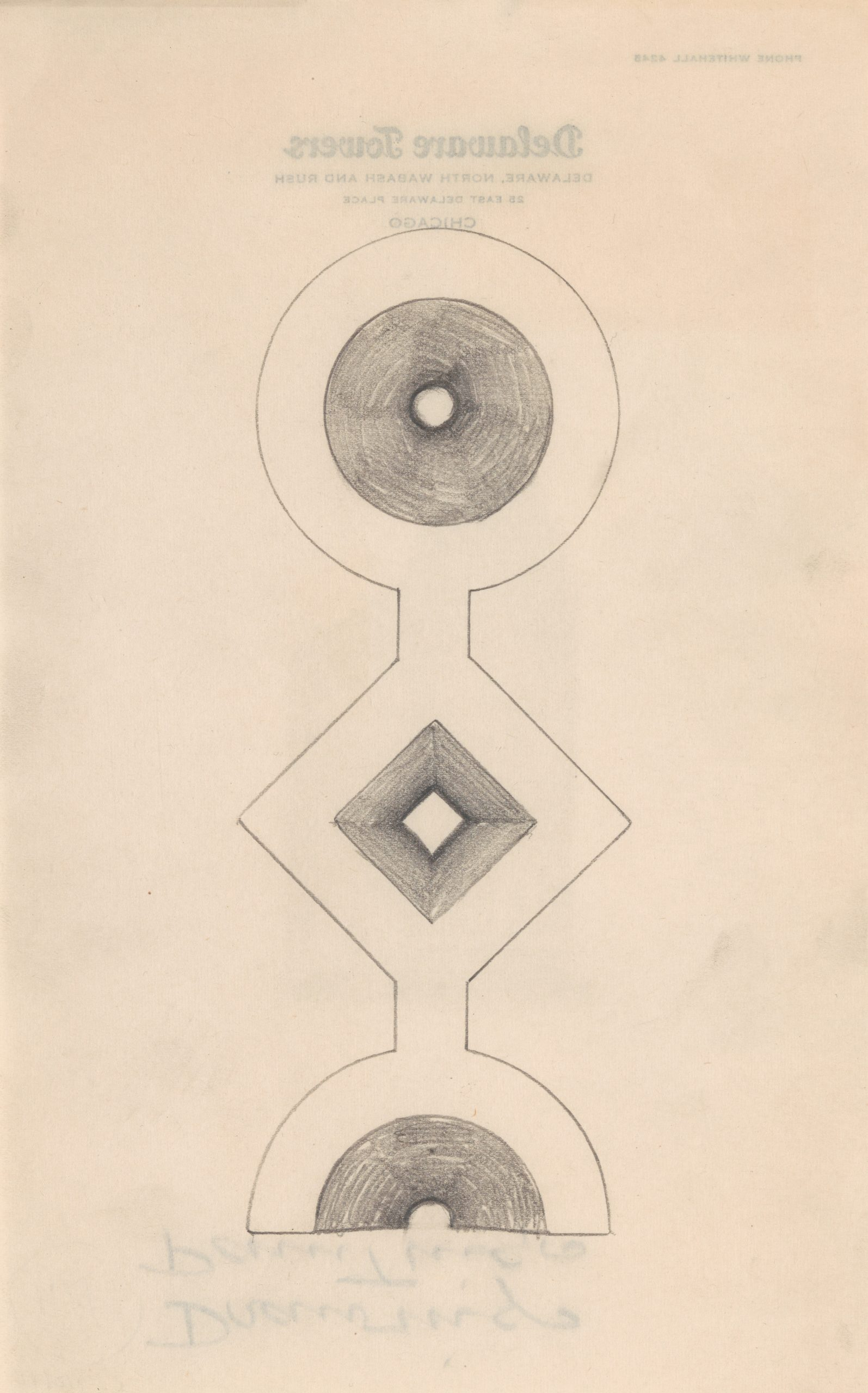 A pencil drawing of a totem-like figure made of a circle and diamond that ends on a half circle.