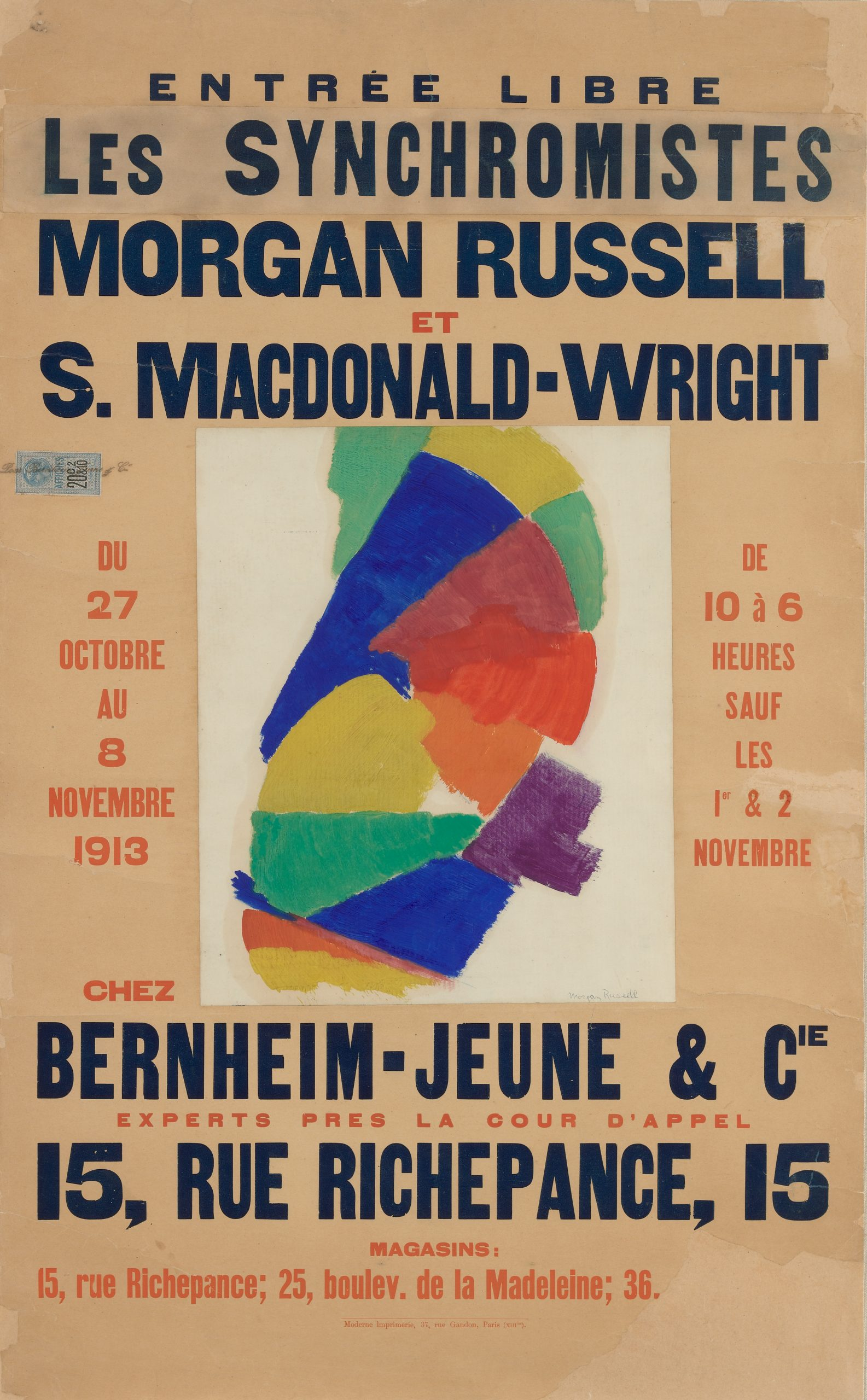 A French poster promoting the artists' exhibition with a formation of colors in the center.