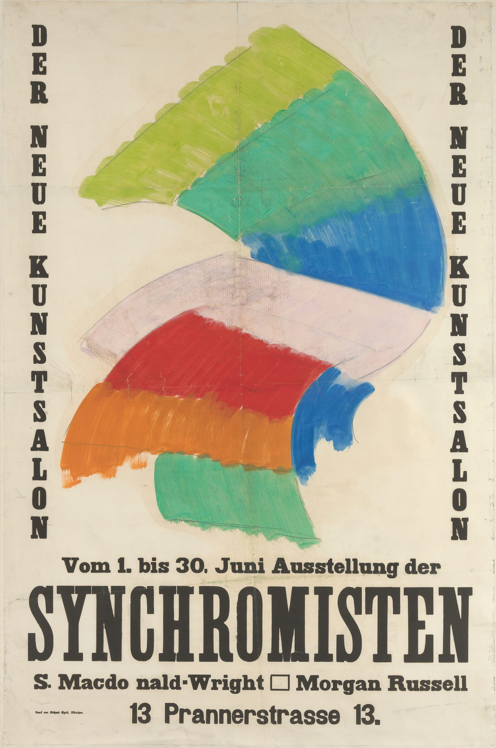 A German poster promoting the artists' exhibition with a wave of striped color panels centered among the text.