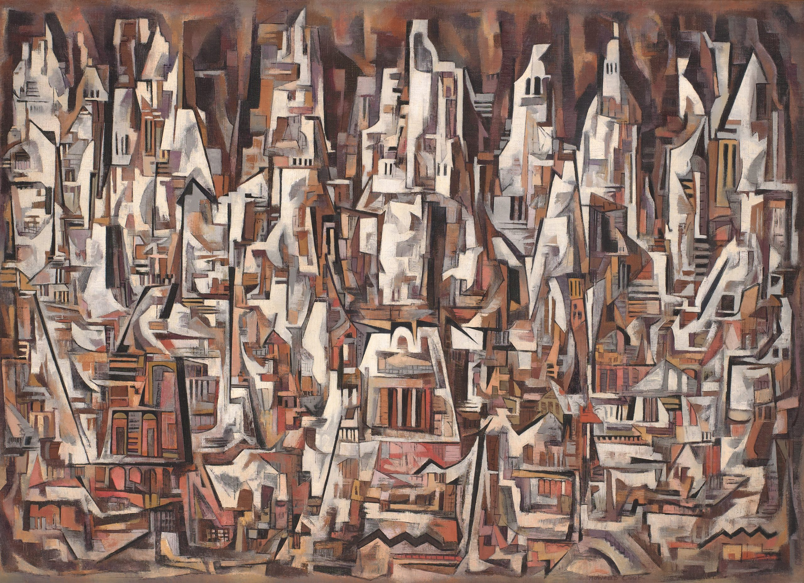 A cubist city with an earthy palette, clustered together like mountains with perpendicular lines resembling doorways and windows.