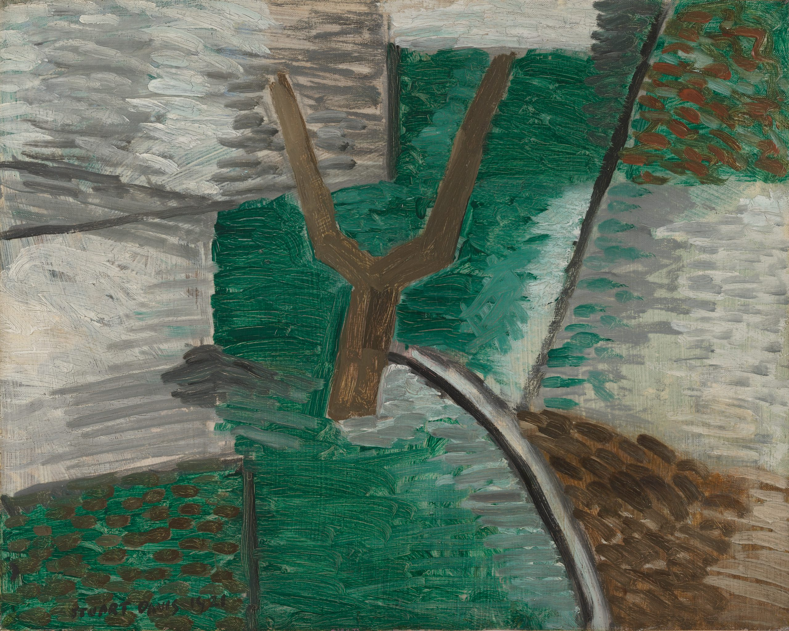 A leafless tree with two branches extended in opposite directions is centered on a field of geometrically divided greens and greys.