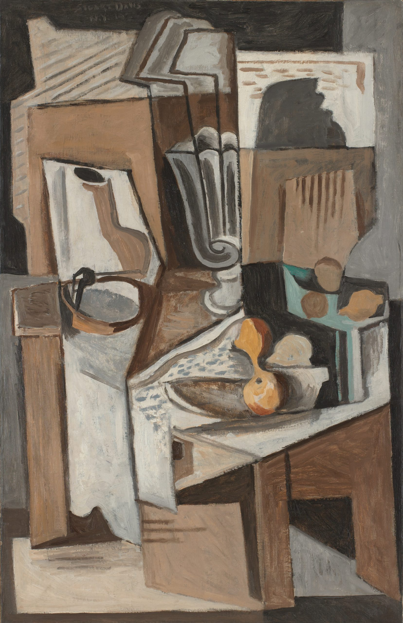 A cubist still life painted predominately in shades of brown featuring fruit, a vase, a pipe and a book arranged on table.