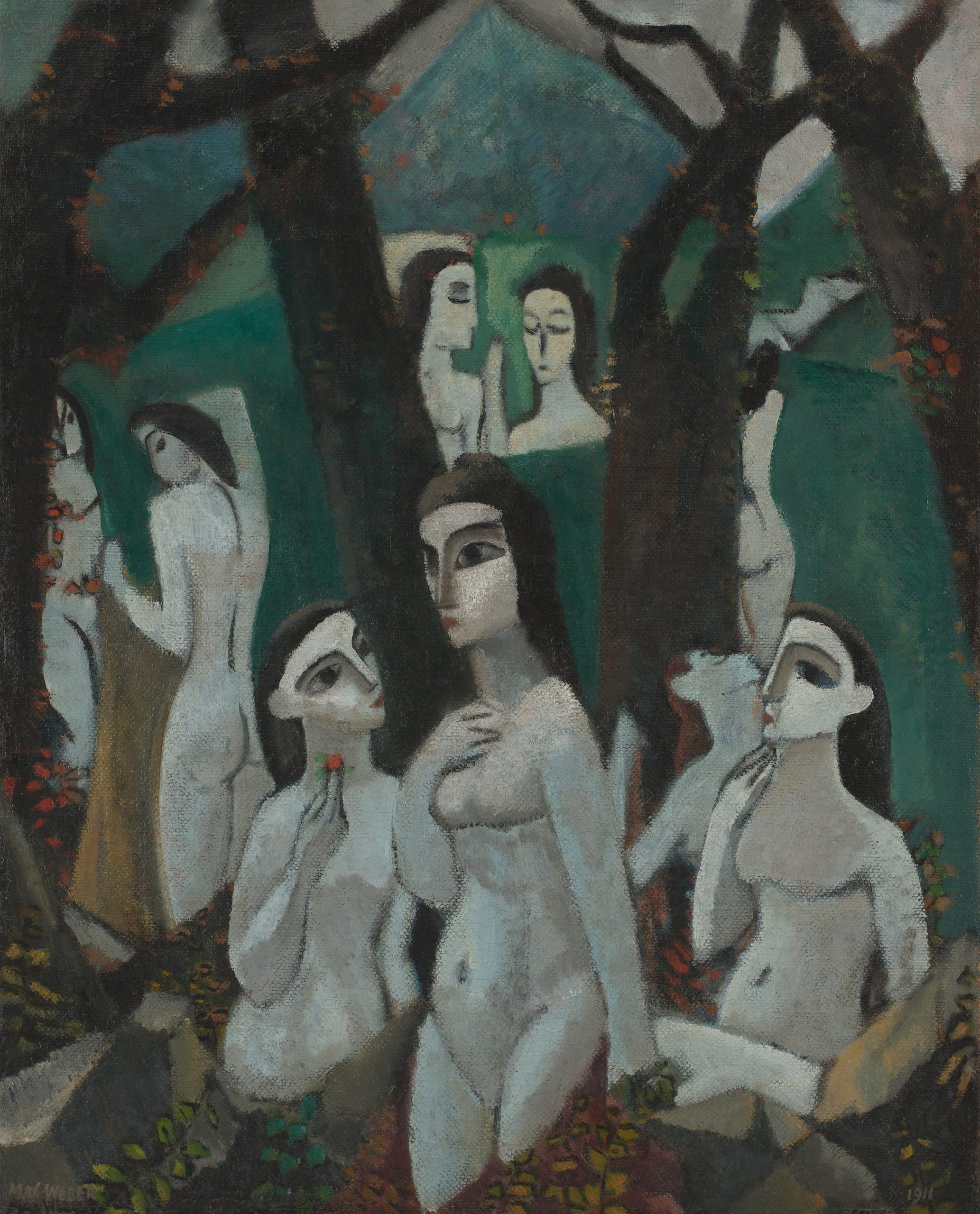 A group of pale, nude women scattered among the trees in a forest.