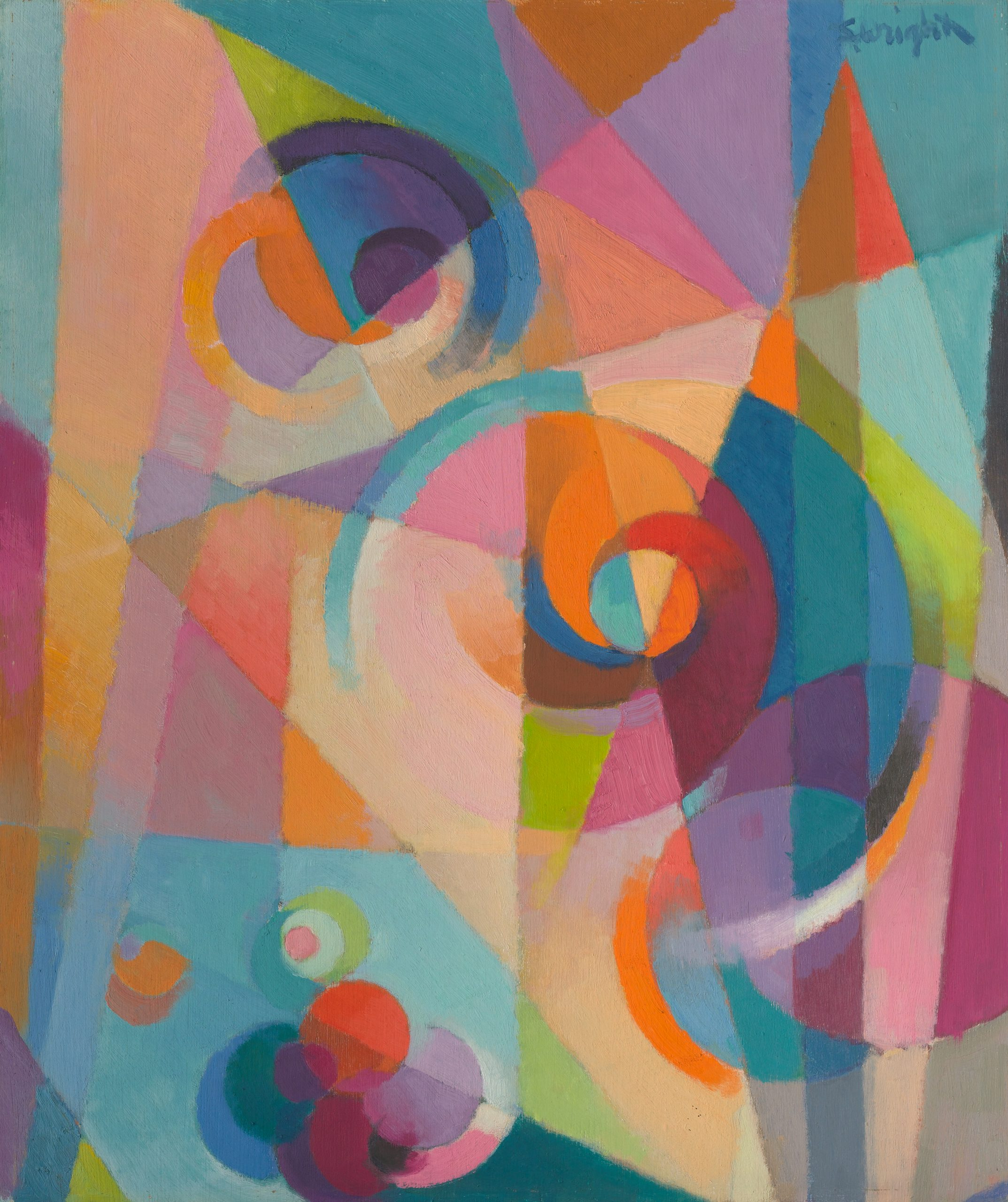 Painting of abstract geometric divisions of bright pastel colors inlayed with three spirals.