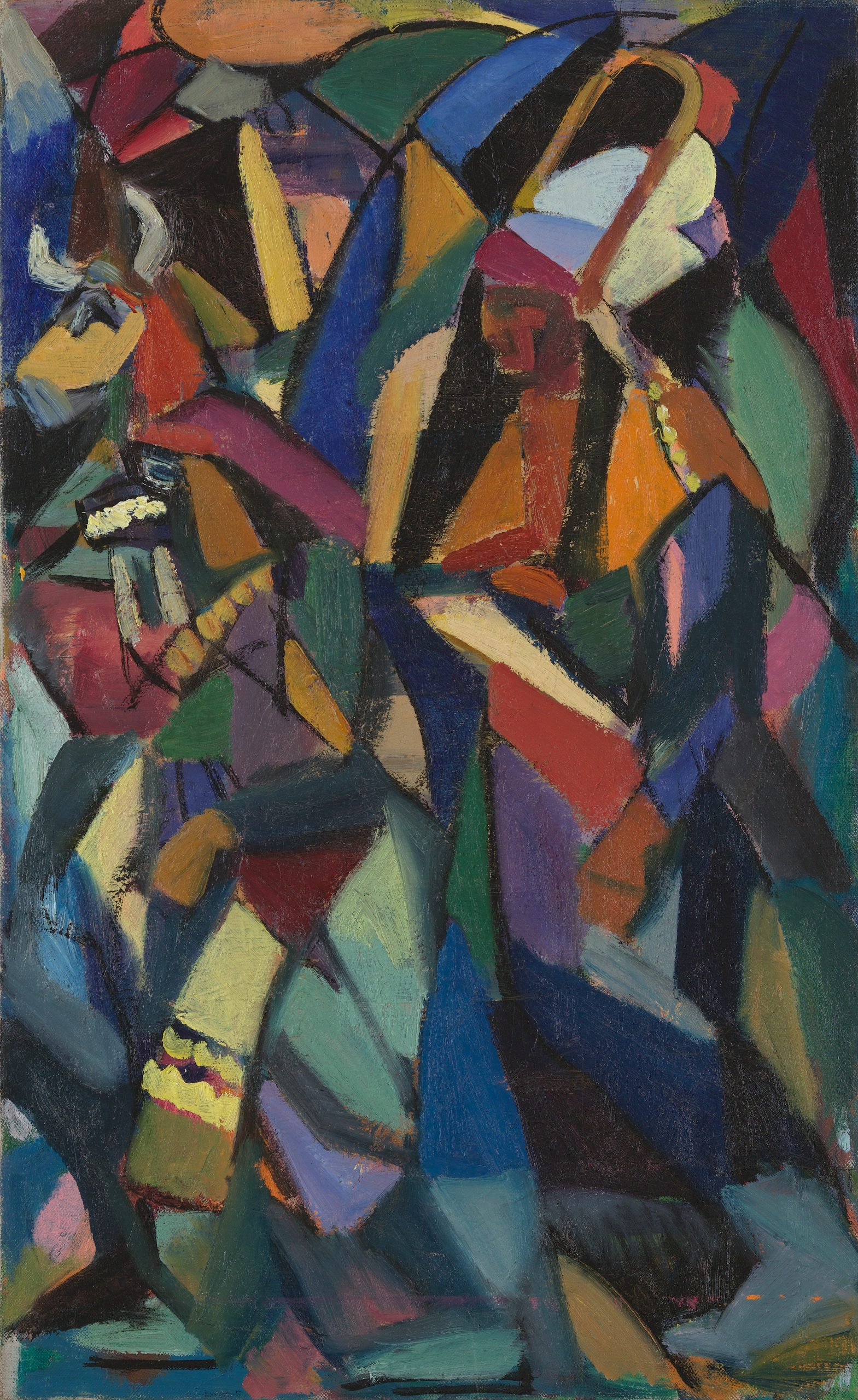 An abstraction of polygons in various colors surround Native American dancers wearing masks.