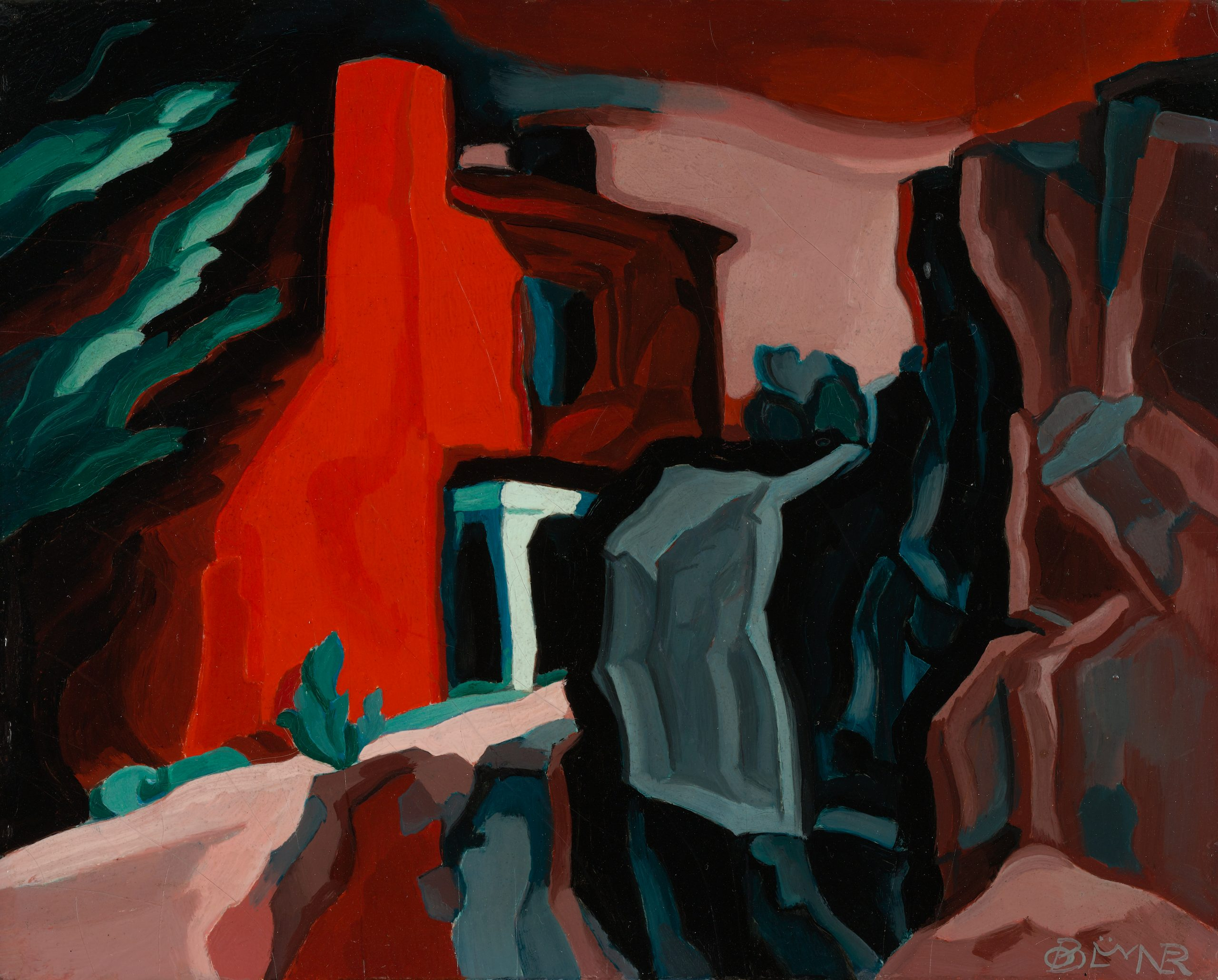 A narrow path leads into a red structure surrounded by tall, jagged rocks and small green shrubs.