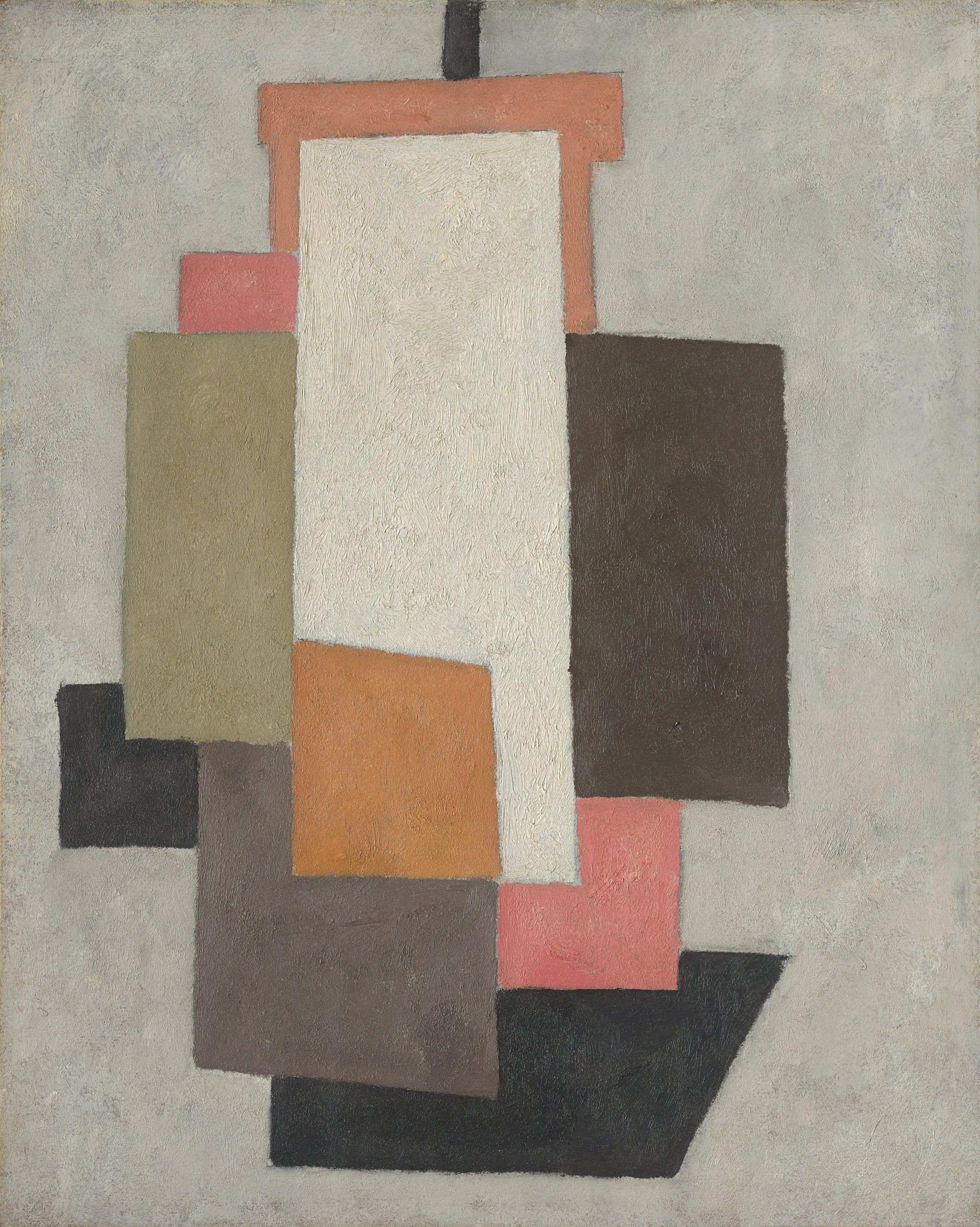 A conglomeration of overlapping rectangles of various sizes and muted tones made to resemble a ship.