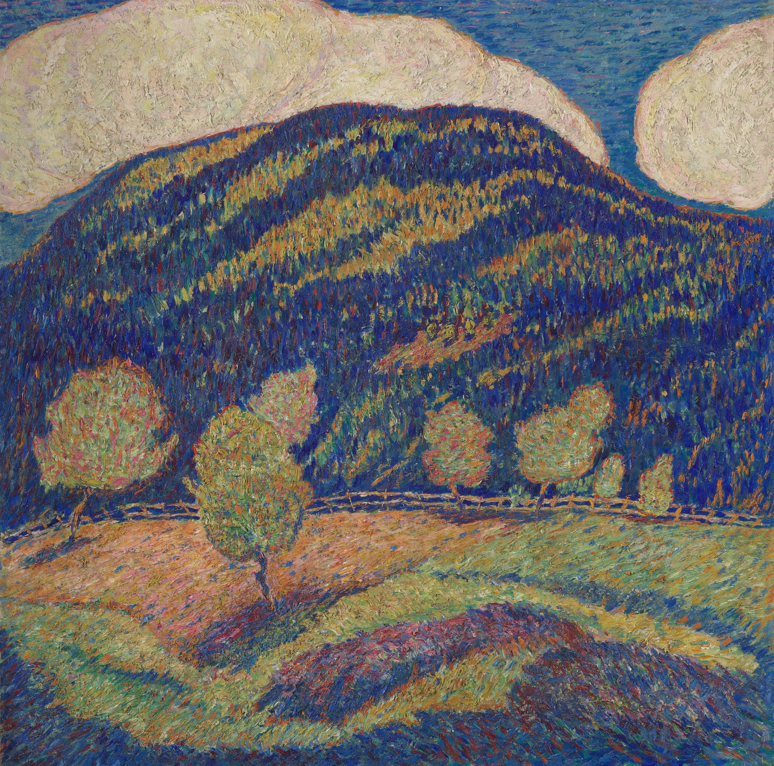 A landscape of a vacant hill using prominent shades of blue, brush markings are impressionistic and create texture within the painting.