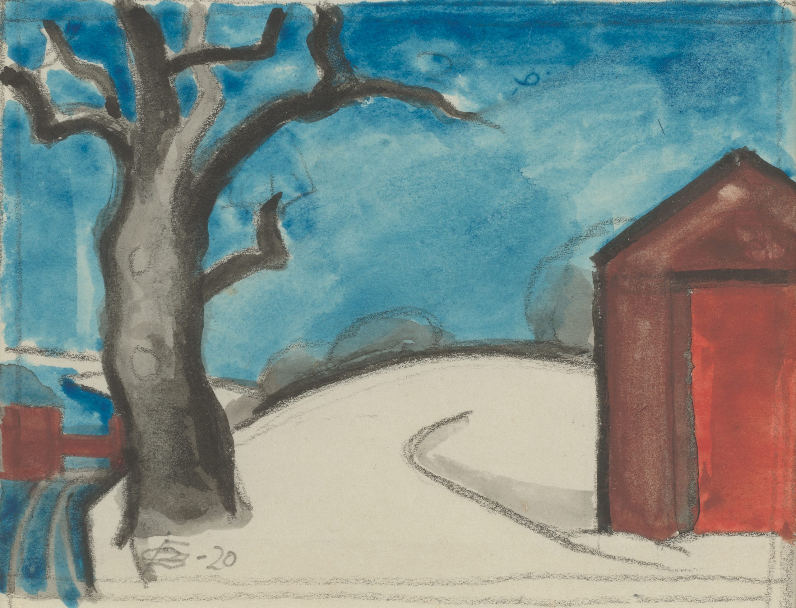 Landscape of a red house and a barren tree under a bright blue sky.