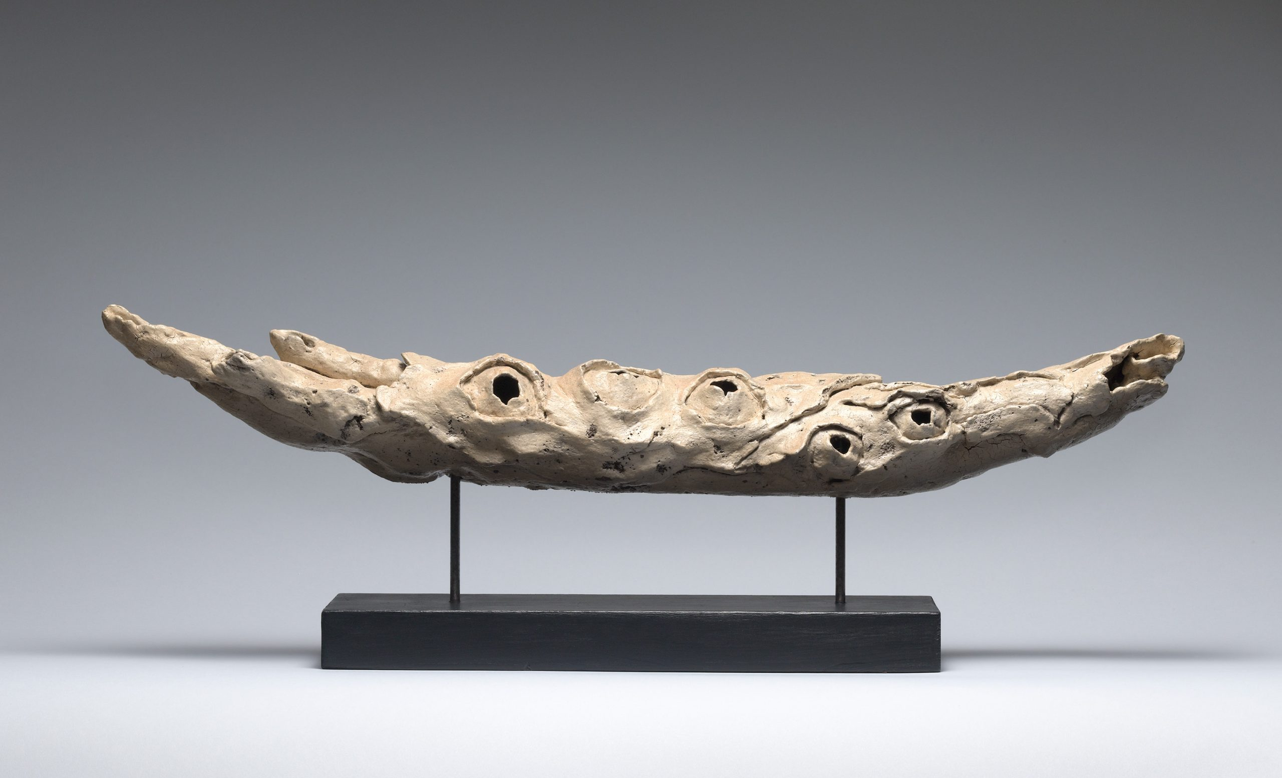 Ceramic beige horn-like horizontal sculpture with holes.