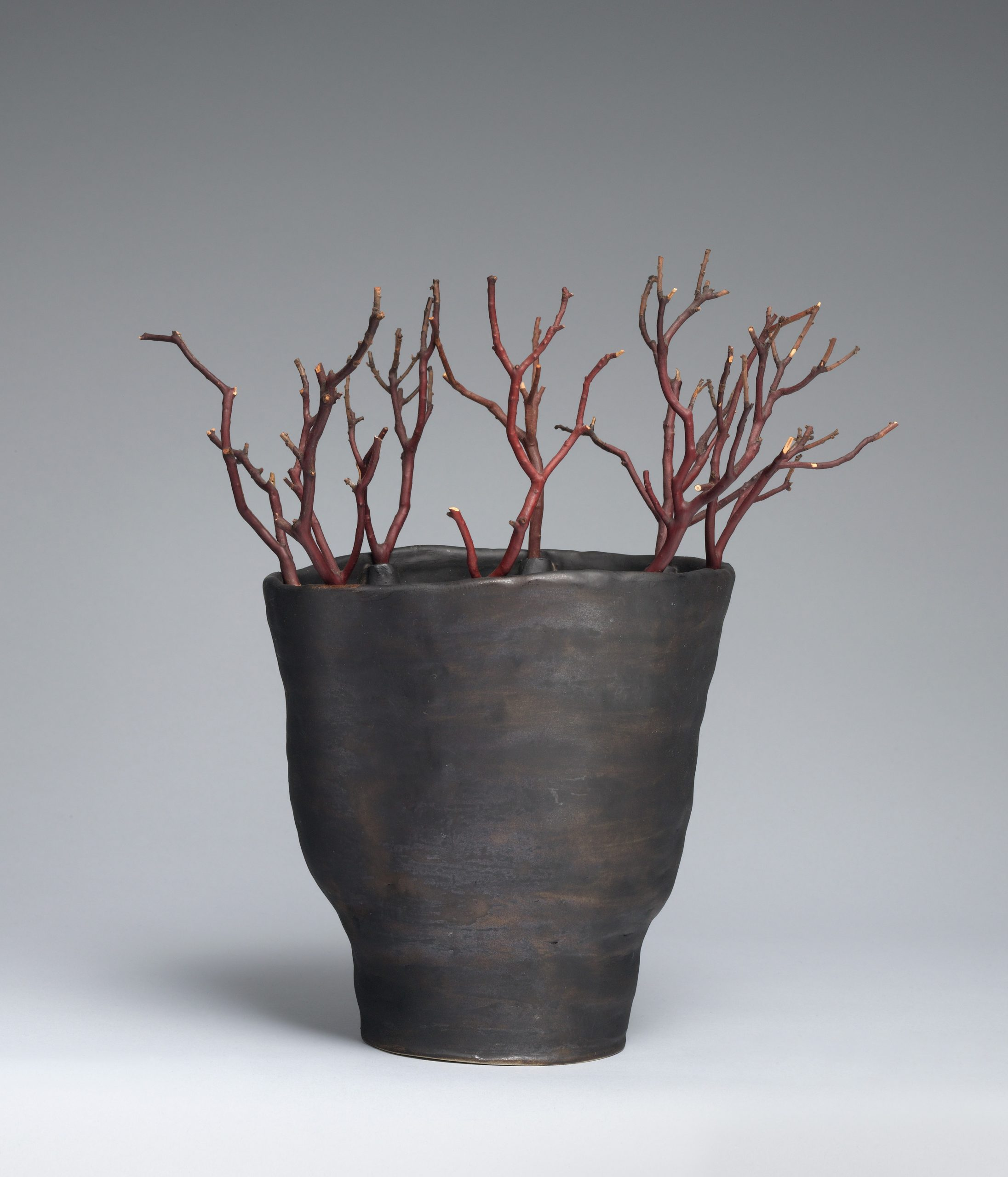 A black vase with an uneven surface holding dark red twigs.