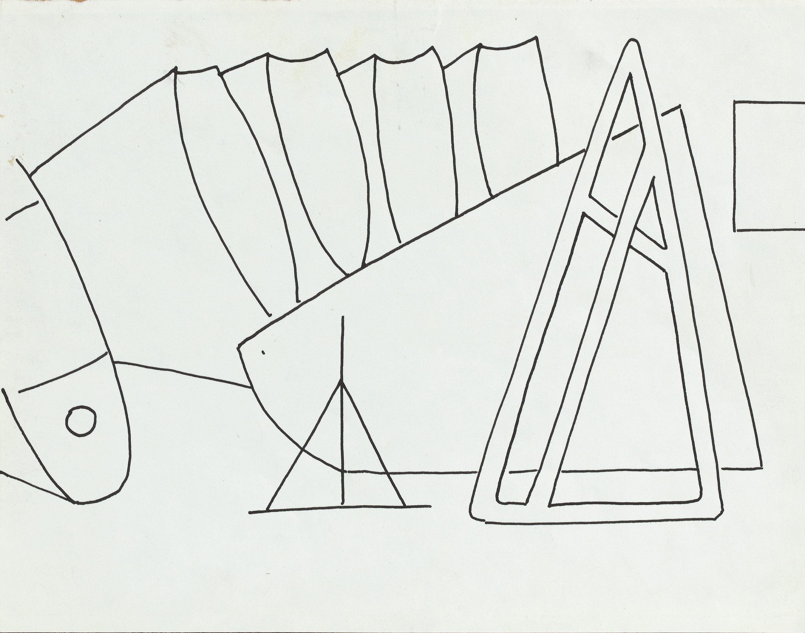 Abstracted line drawing of an aircraft factory with curved shapes floating in space and a triangular shape at the center.