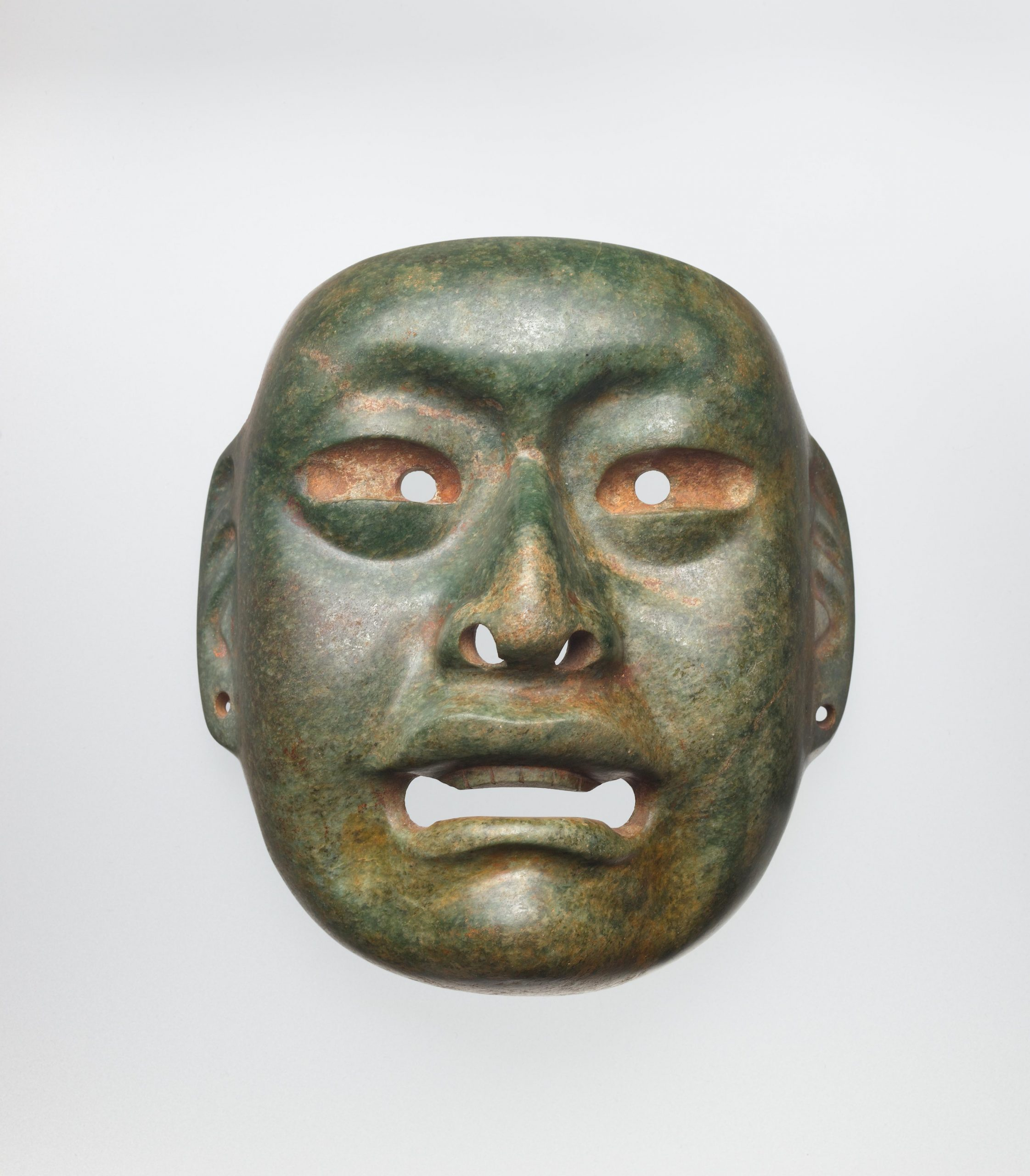 Naturalistic face mask with open mouth, large eyes, and ear spools.