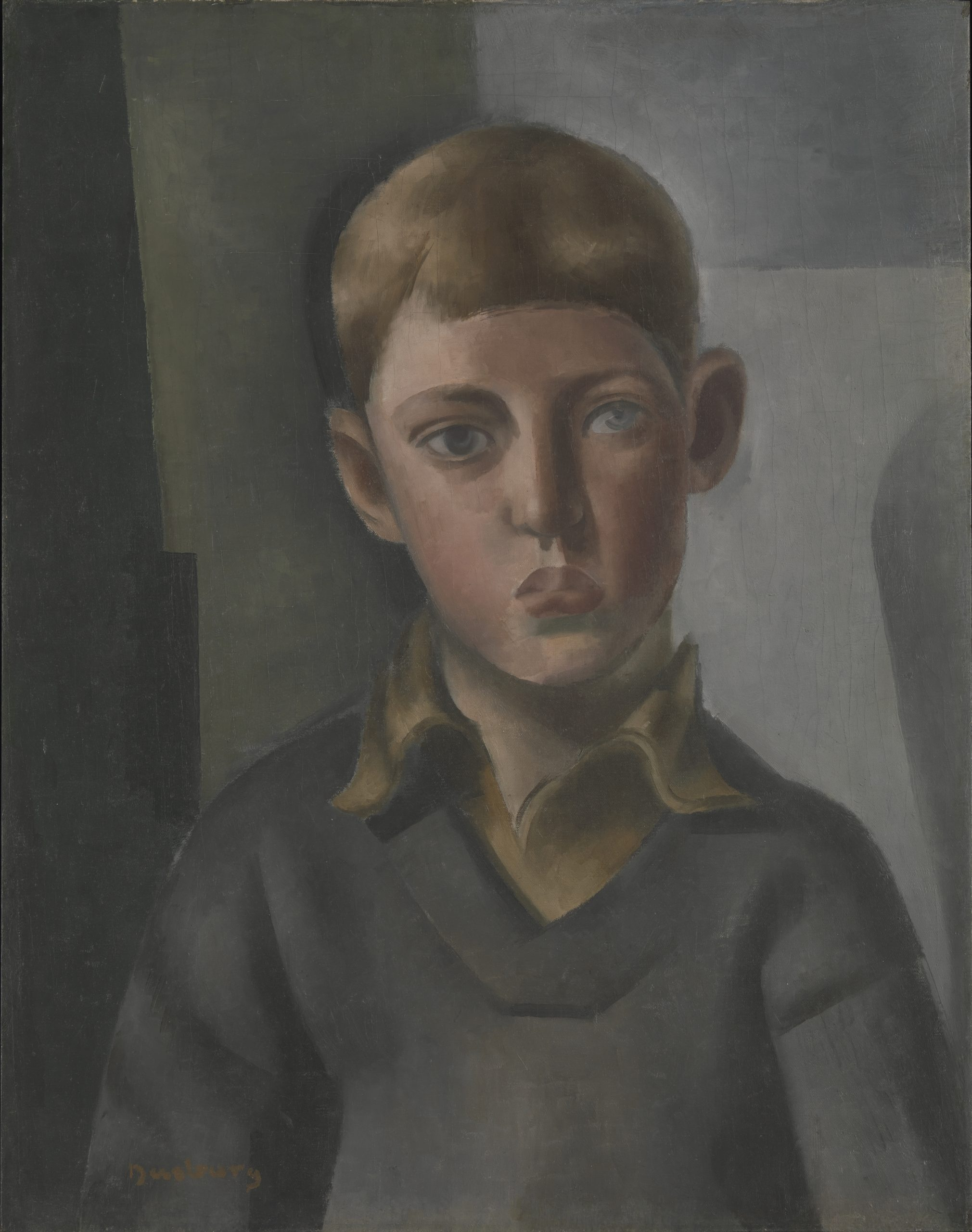 Painted portrait of a young blonde boy staring pensively off into the distance.