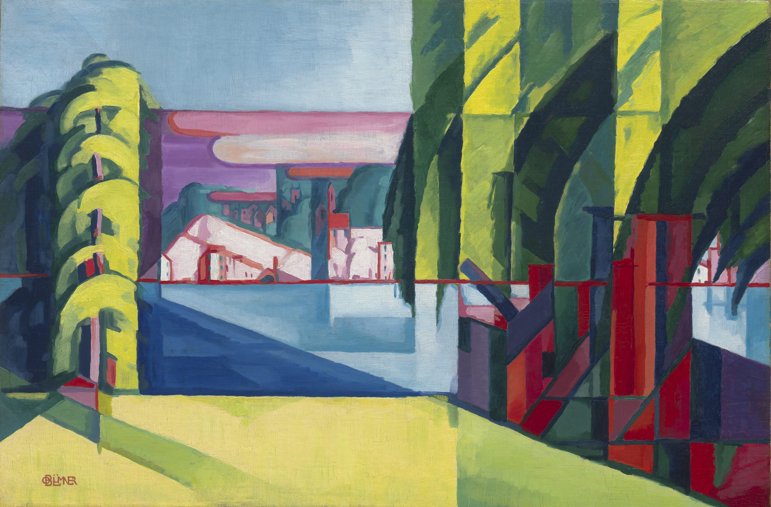 A cubist seascape featuring the view across a waterway, with trees and buildings on the edges of the composition.