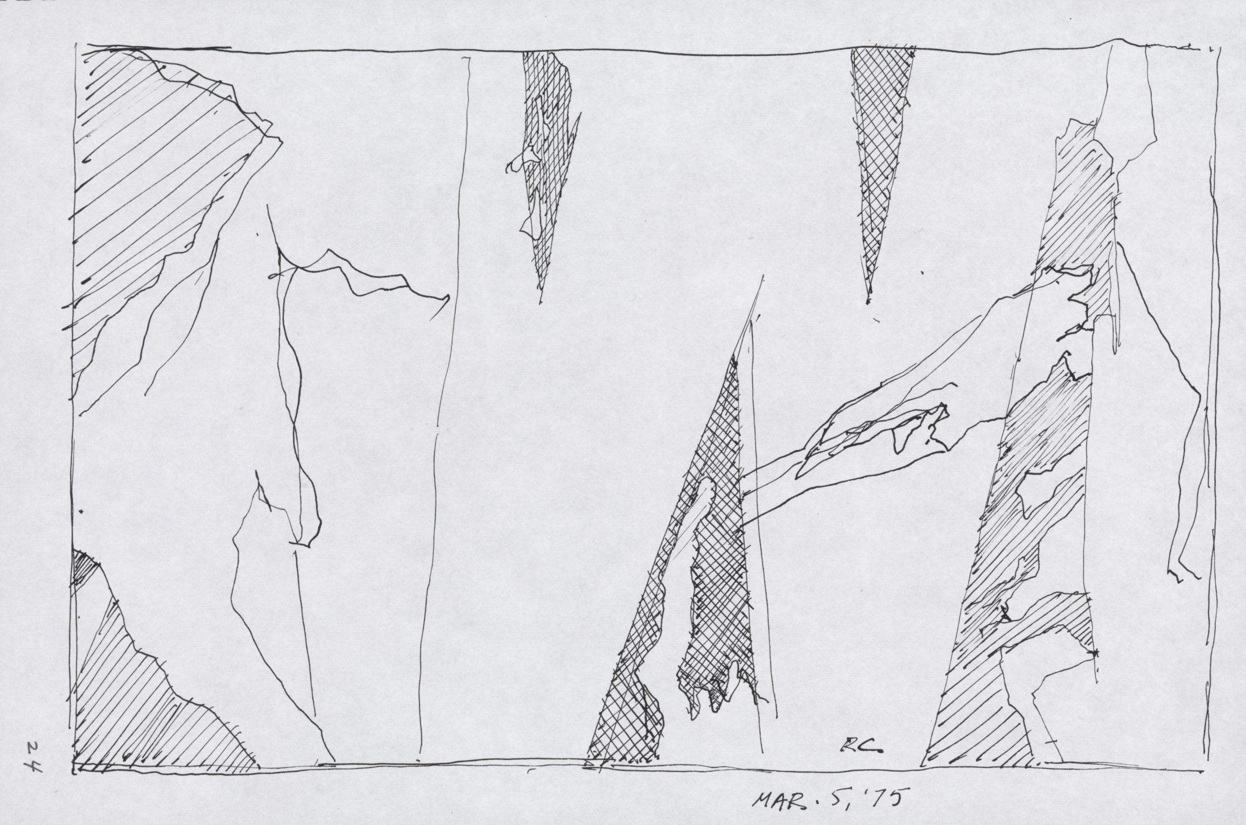 Ink sketch of a torn sign with triangular tears, detailed with cross-hatching in ink.