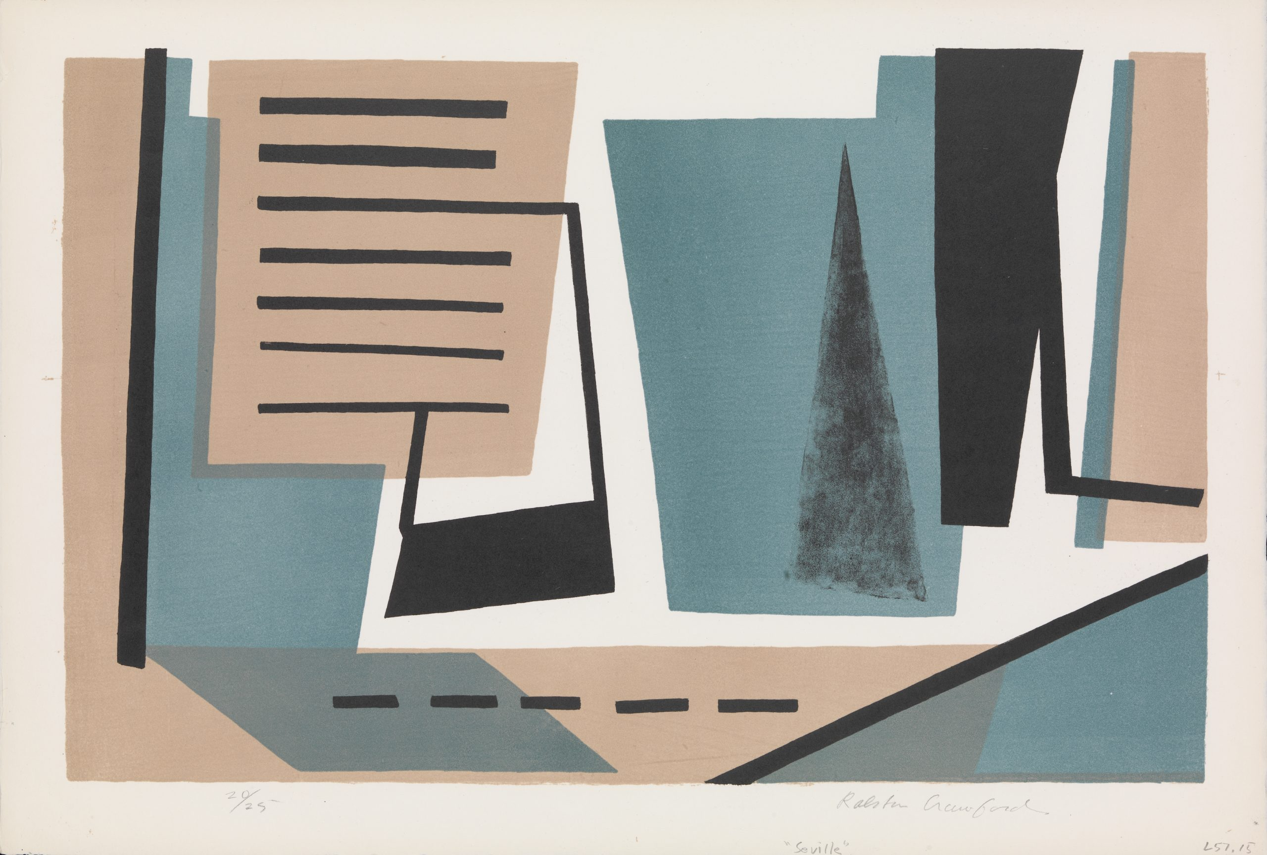 A lithograph composed of abstract geometric shapes suggesting text and figures.