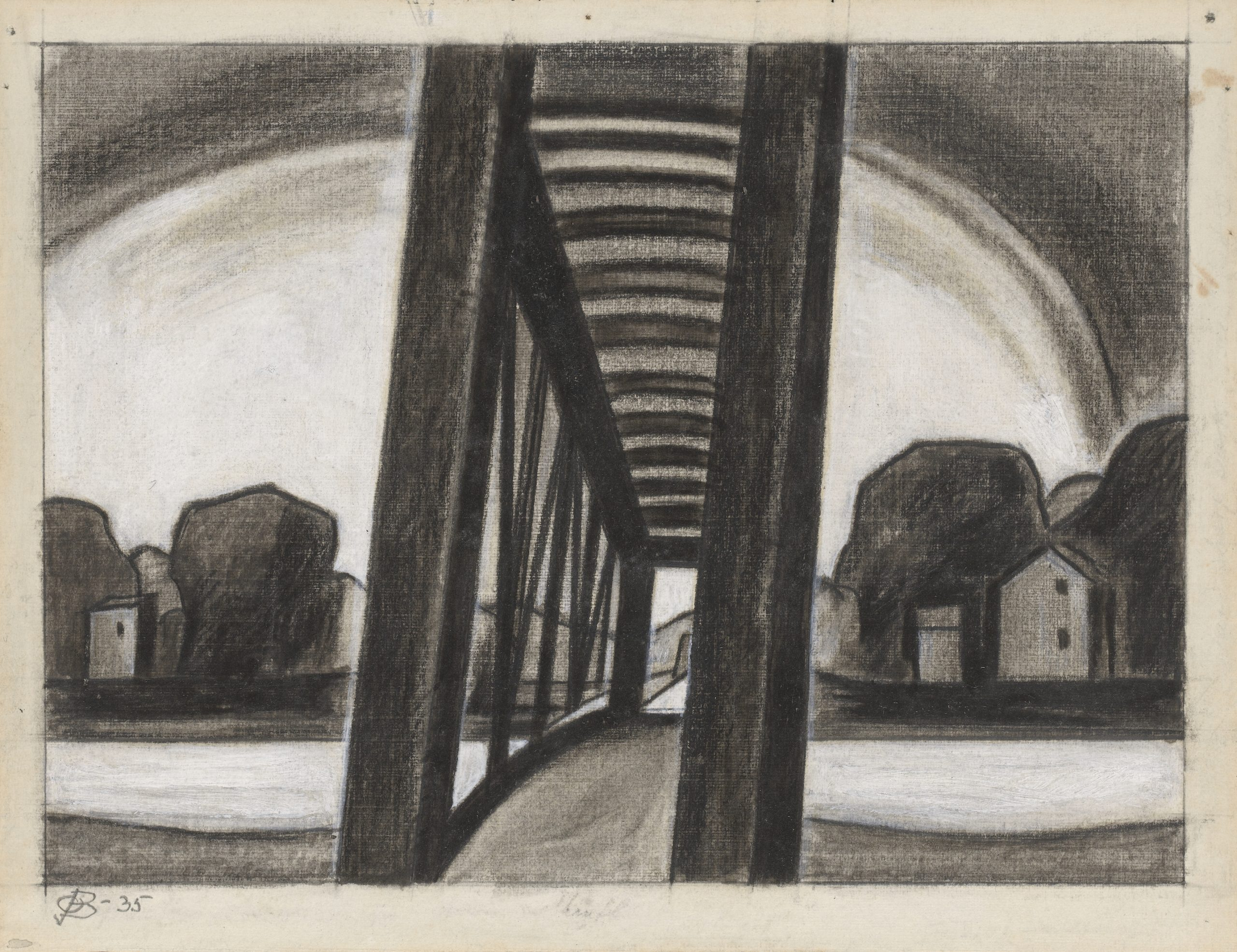 Landscape featuring trees and houses seen through the center of a bridge.