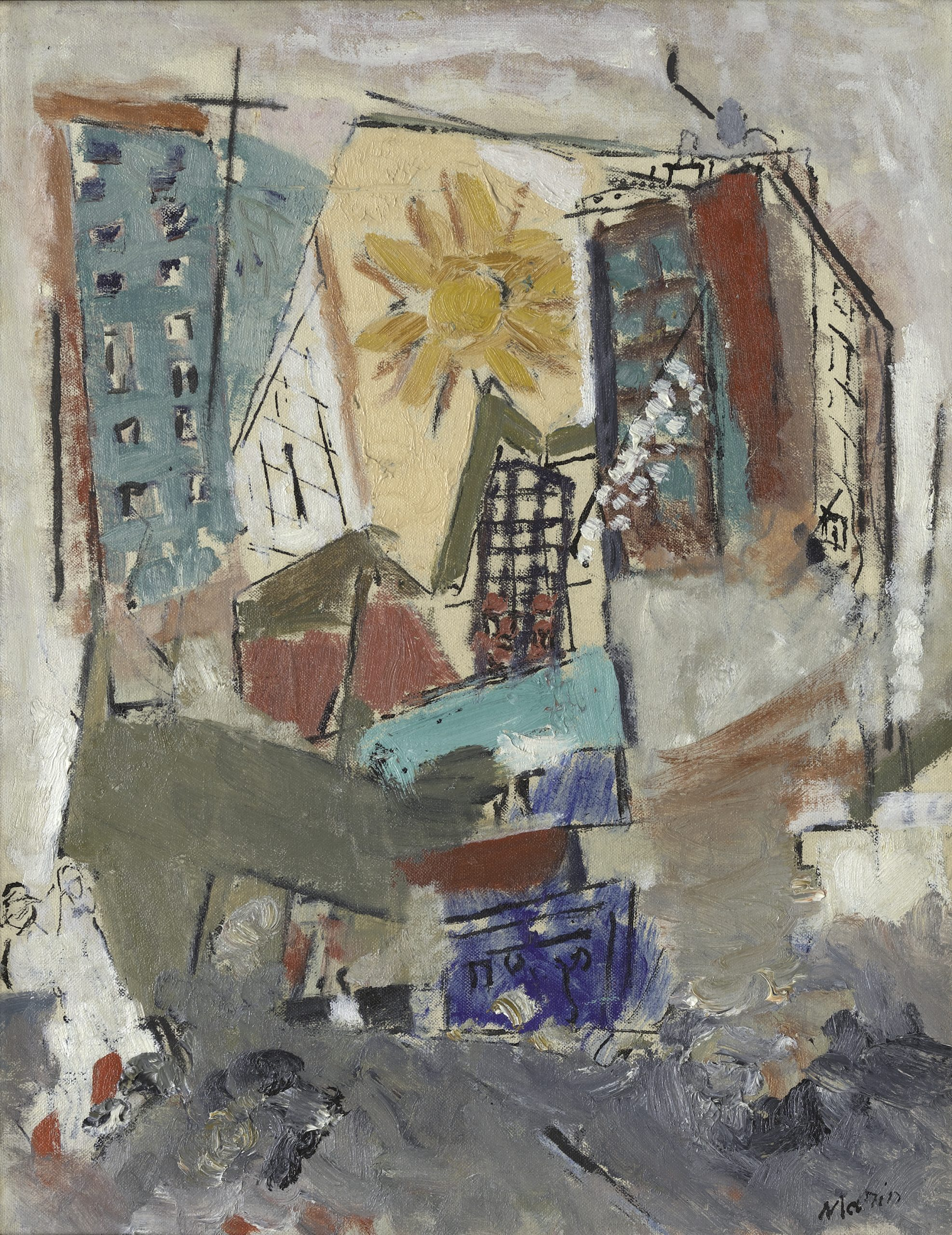 Abstract New York cityscape with overlapping tall buildings and a bright yellow sun.